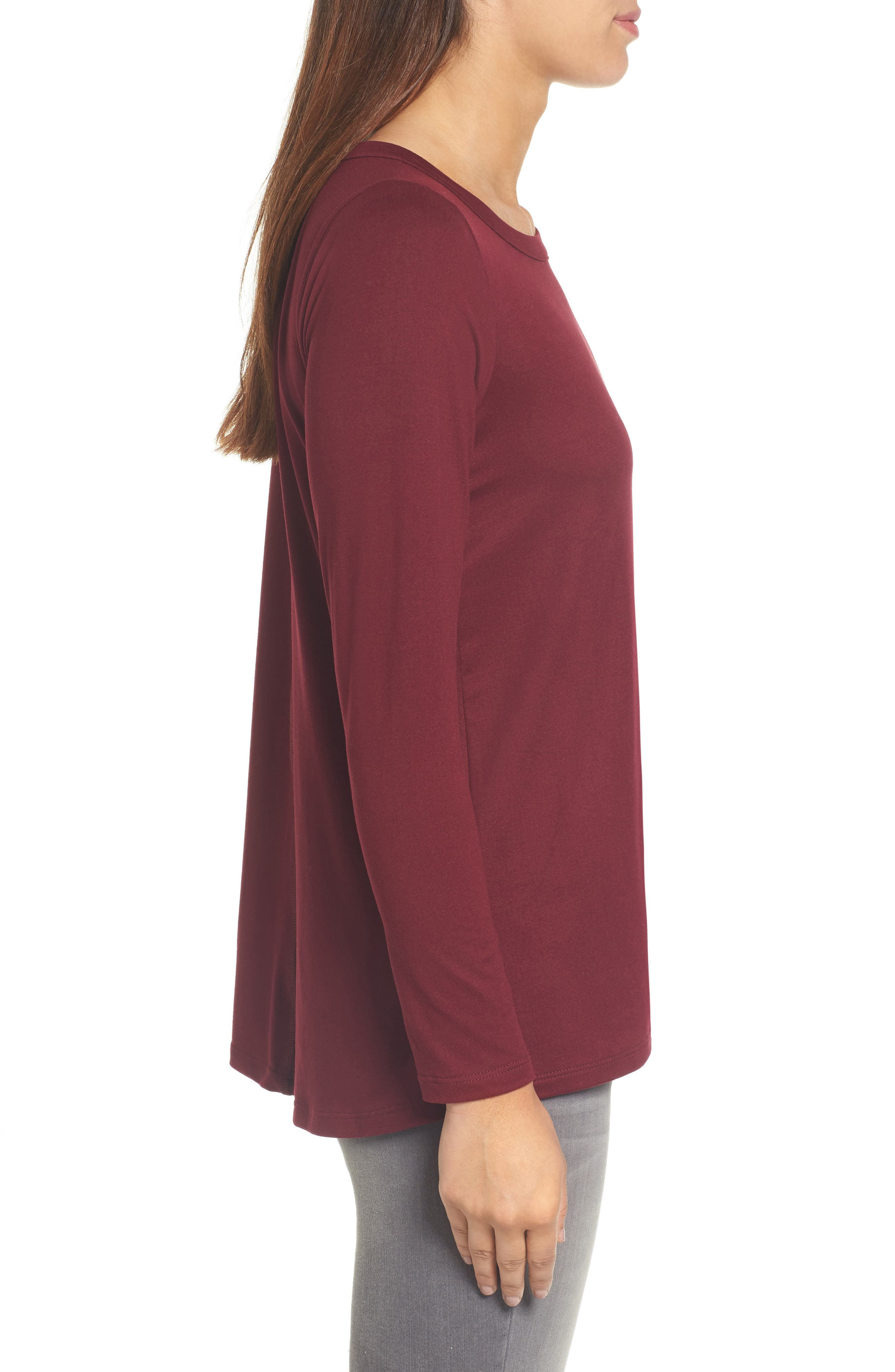 High/Low Bow Back Top,                             Alternate thumbnail 3, color,                             Burgundy