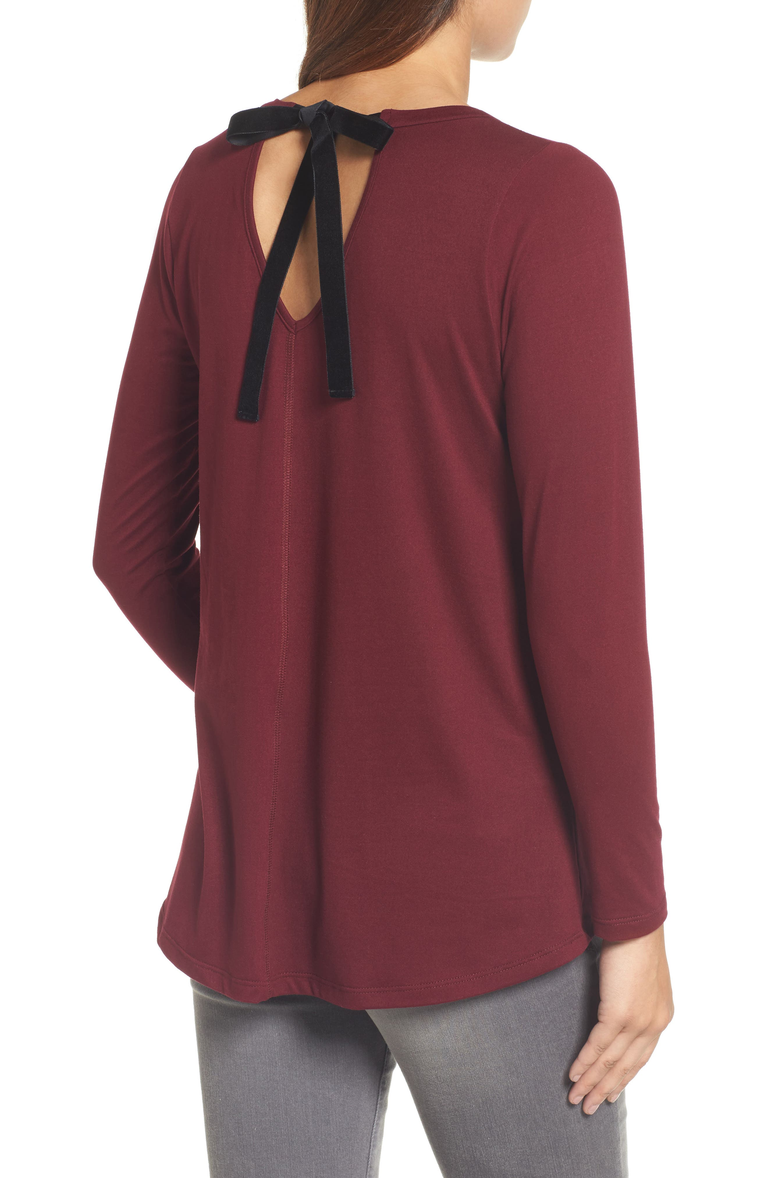 High/Low Bow Back Top,                             Alternate thumbnail 2, color,                             Burgundy