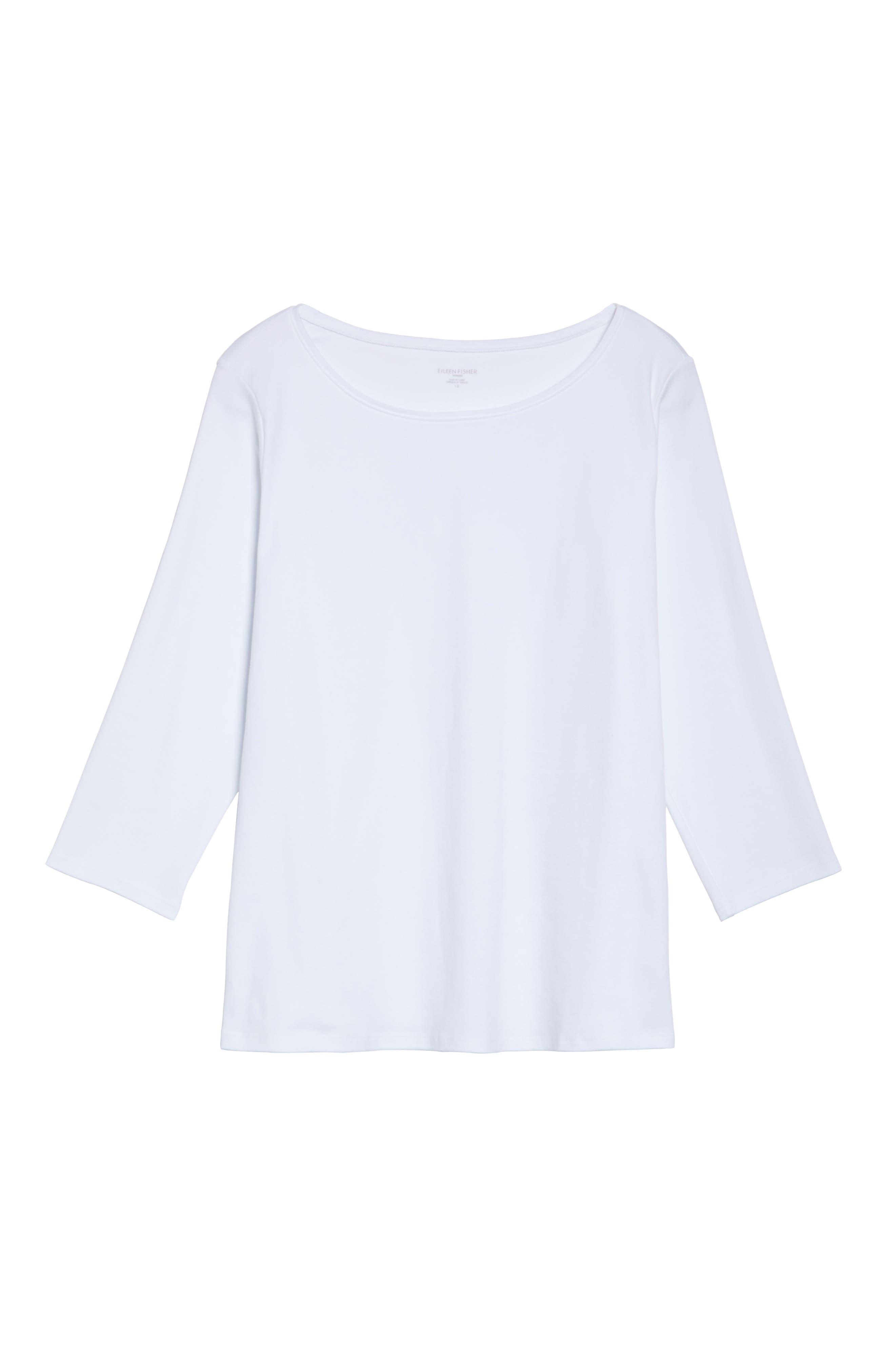 Alternate Image 6  - Eileen Fisher Organic Cotton Ballet Neck Top (Plus Size)