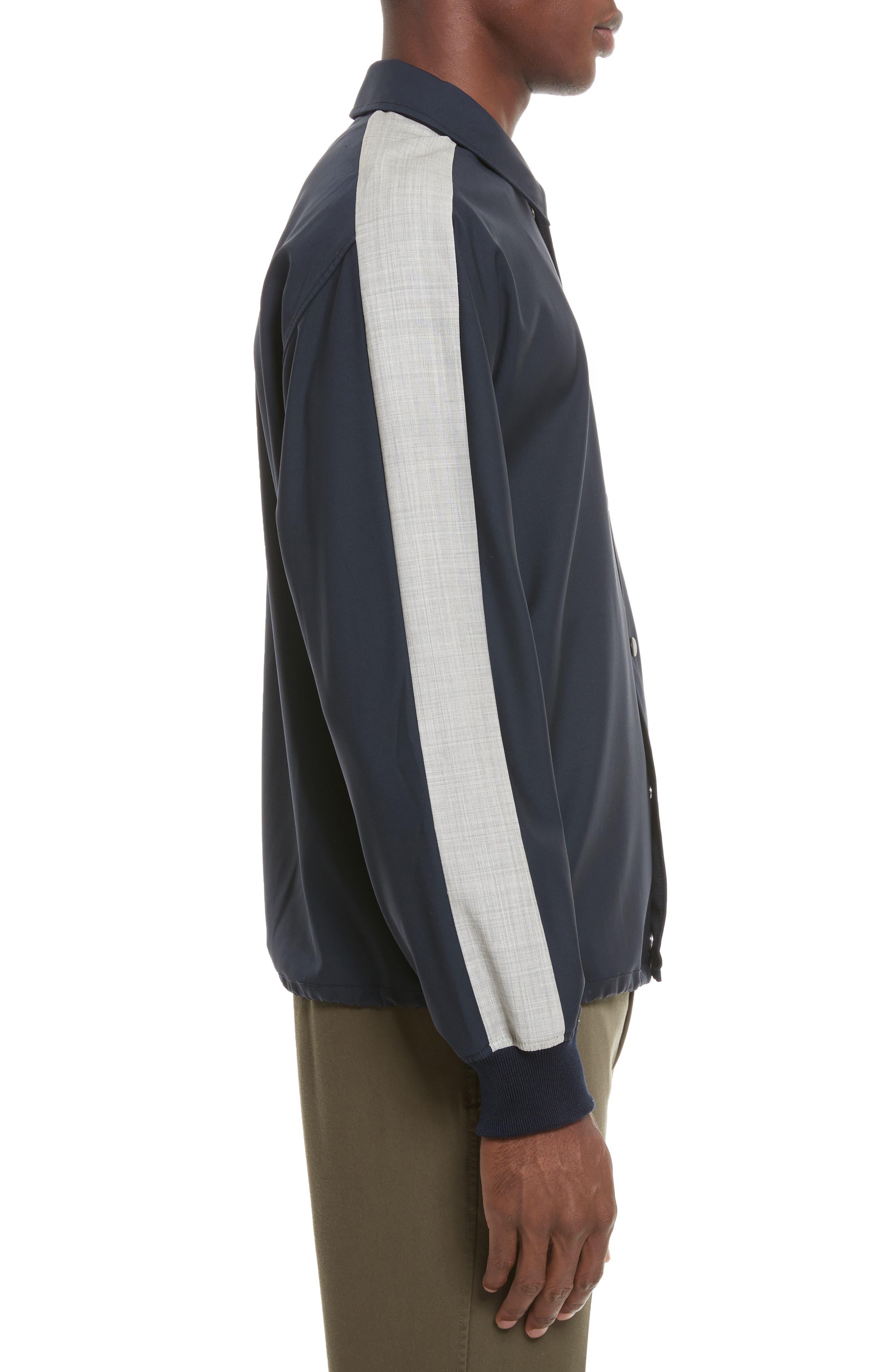 Wool Coachs Jacket,                             Alternate thumbnail 3, color,                             Midnight