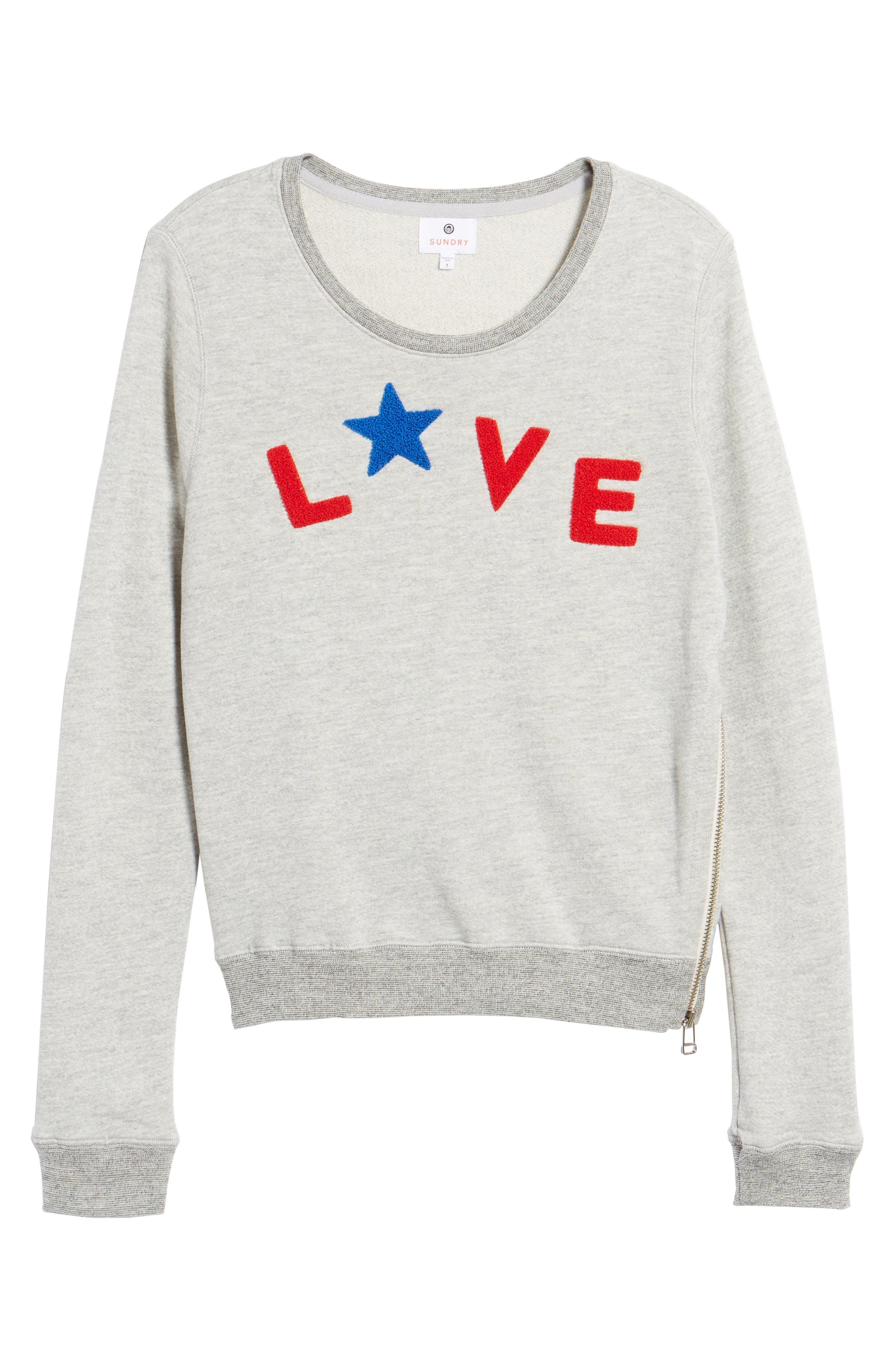 Love Sweatshirt,                             Alternate thumbnail 6, color,                             Heather Grey