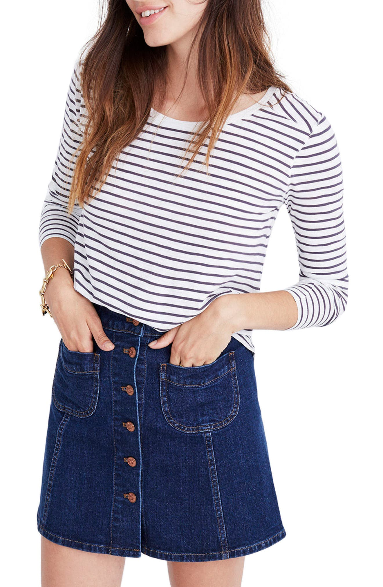 Alternate Image 1 Selected - Madewell Whisper Cotton Stripe Long Sleeve Tee