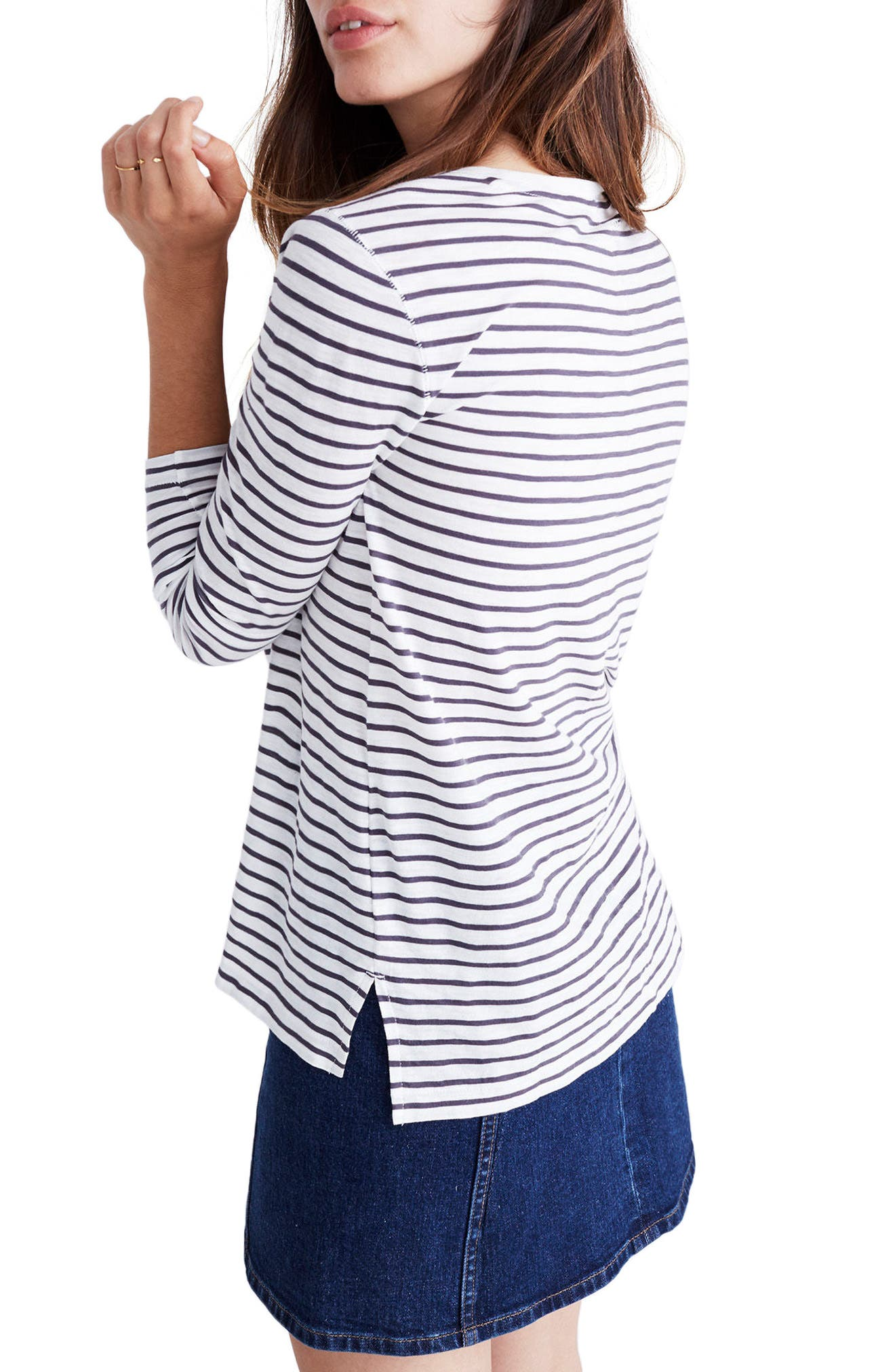 Alternate Image 2  - Madewell Whisper Cotton Stripe Long Sleeve Tee