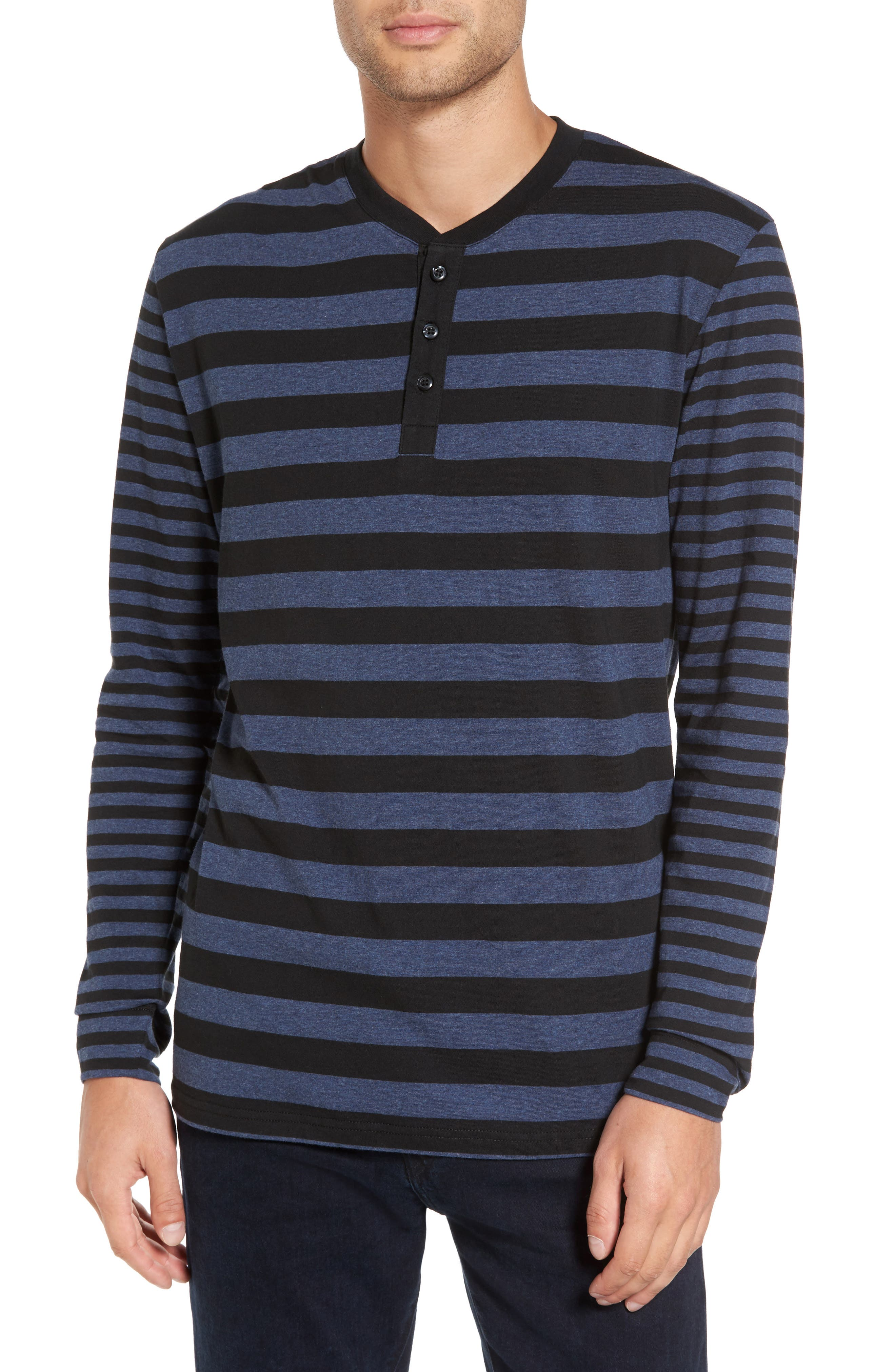Striped Long Sleeve Henley T-Shirt,                             Main thumbnail 1, color,                             Heather Blue/ Black Stripe