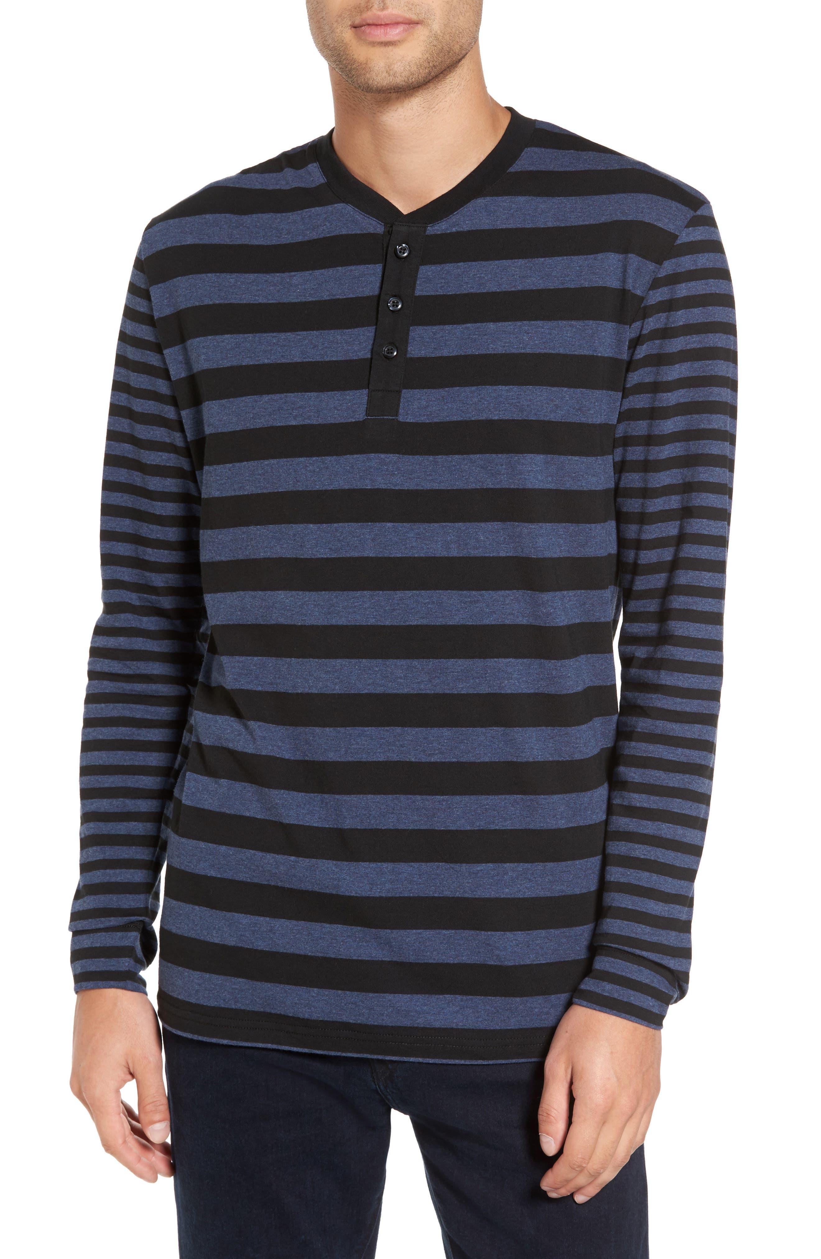 Slate & Stone Striped Long Sleeve Henley T-Shirt