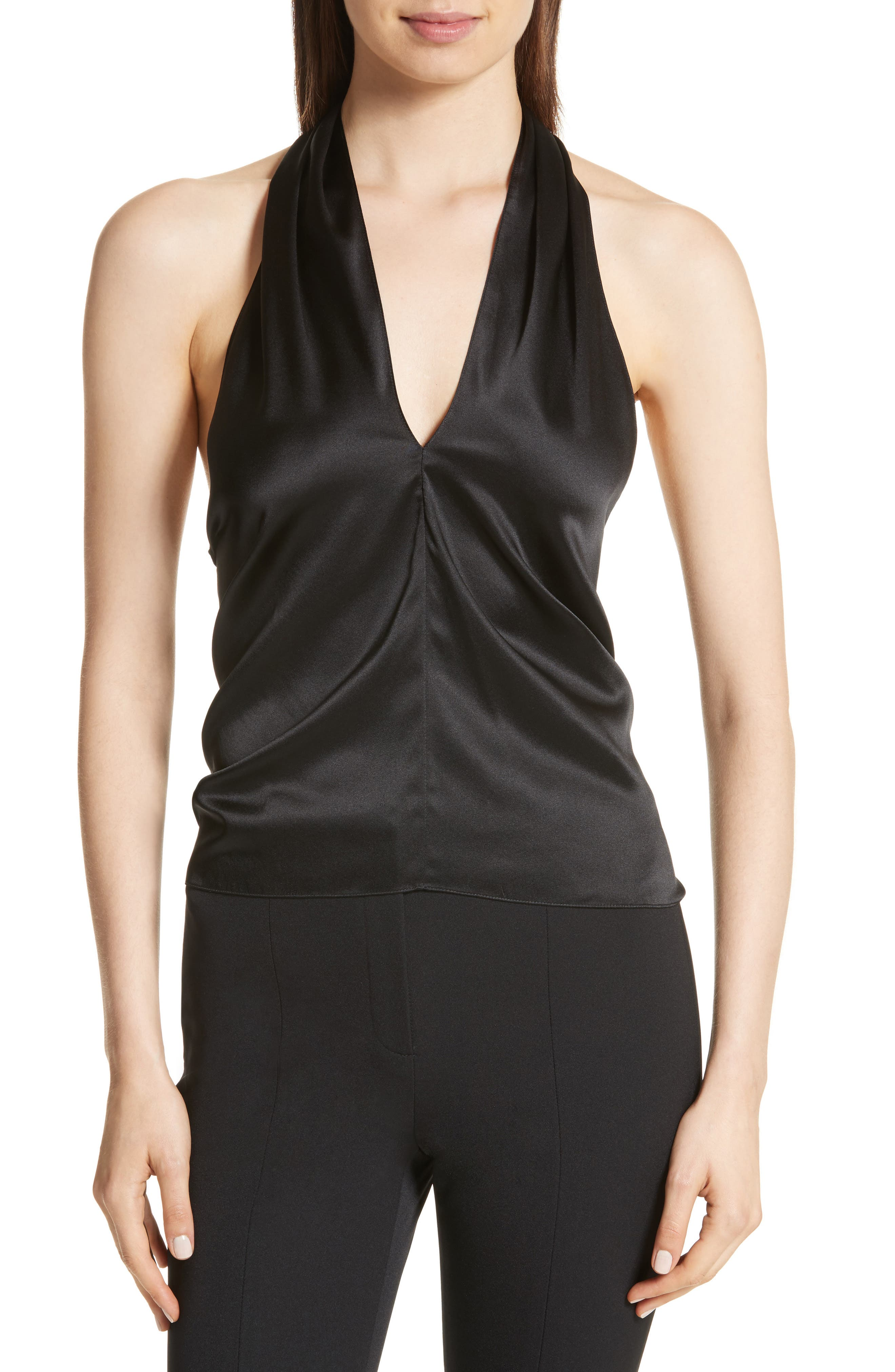 Main Image - Theory Ertil Stretch Satin Halter Top