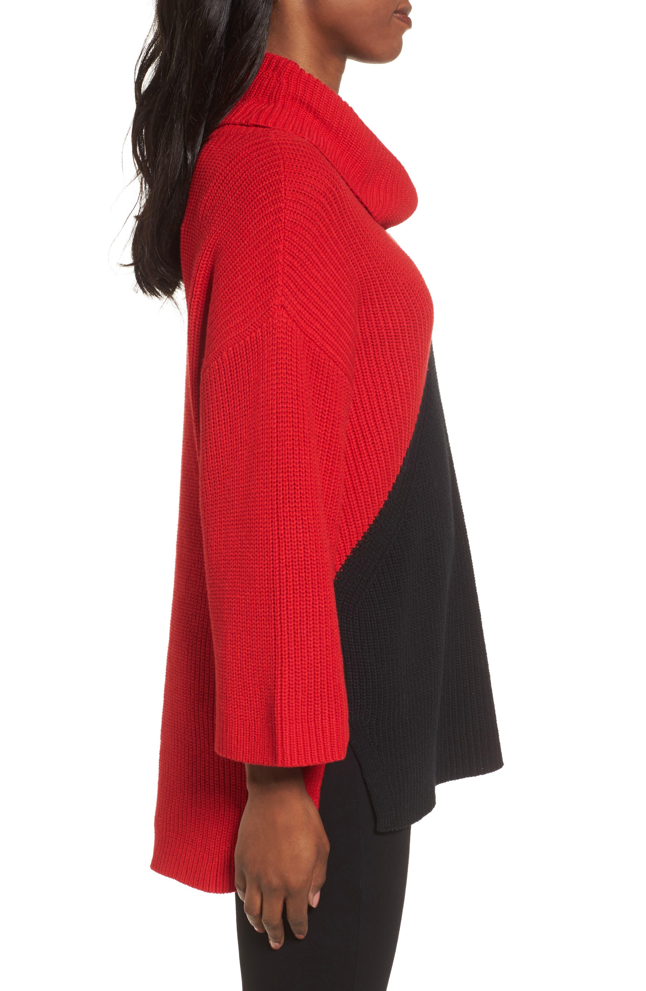 Colorblock Cowl Neck Sweater,                             Alternate thumbnail 3, color,                             Rouge