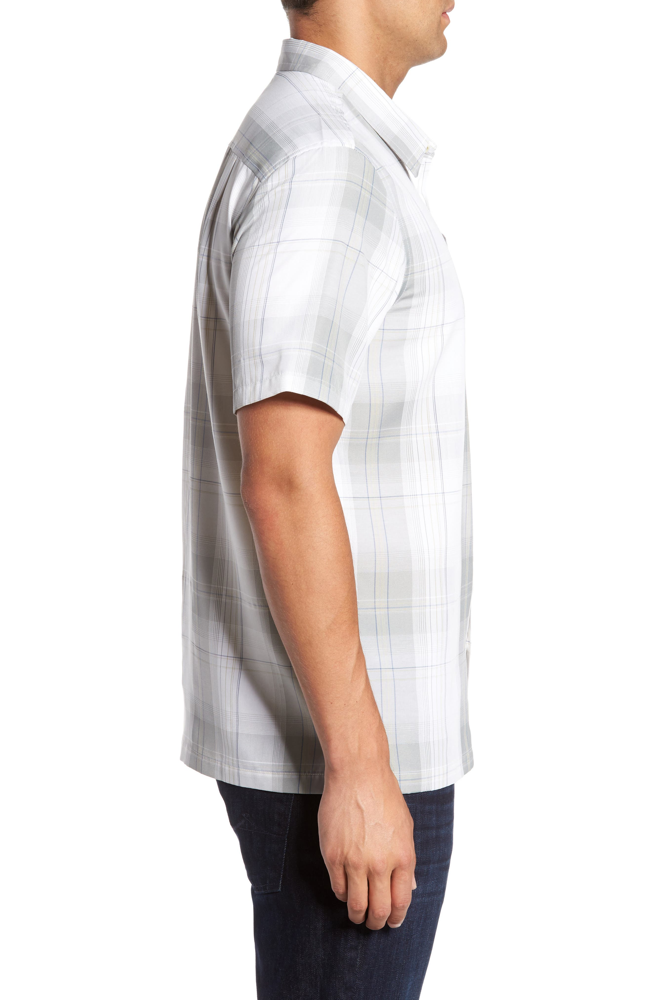 Outerbanks Plaid Sport Shirt,                             Alternate thumbnail 3, color,                             Light Grey