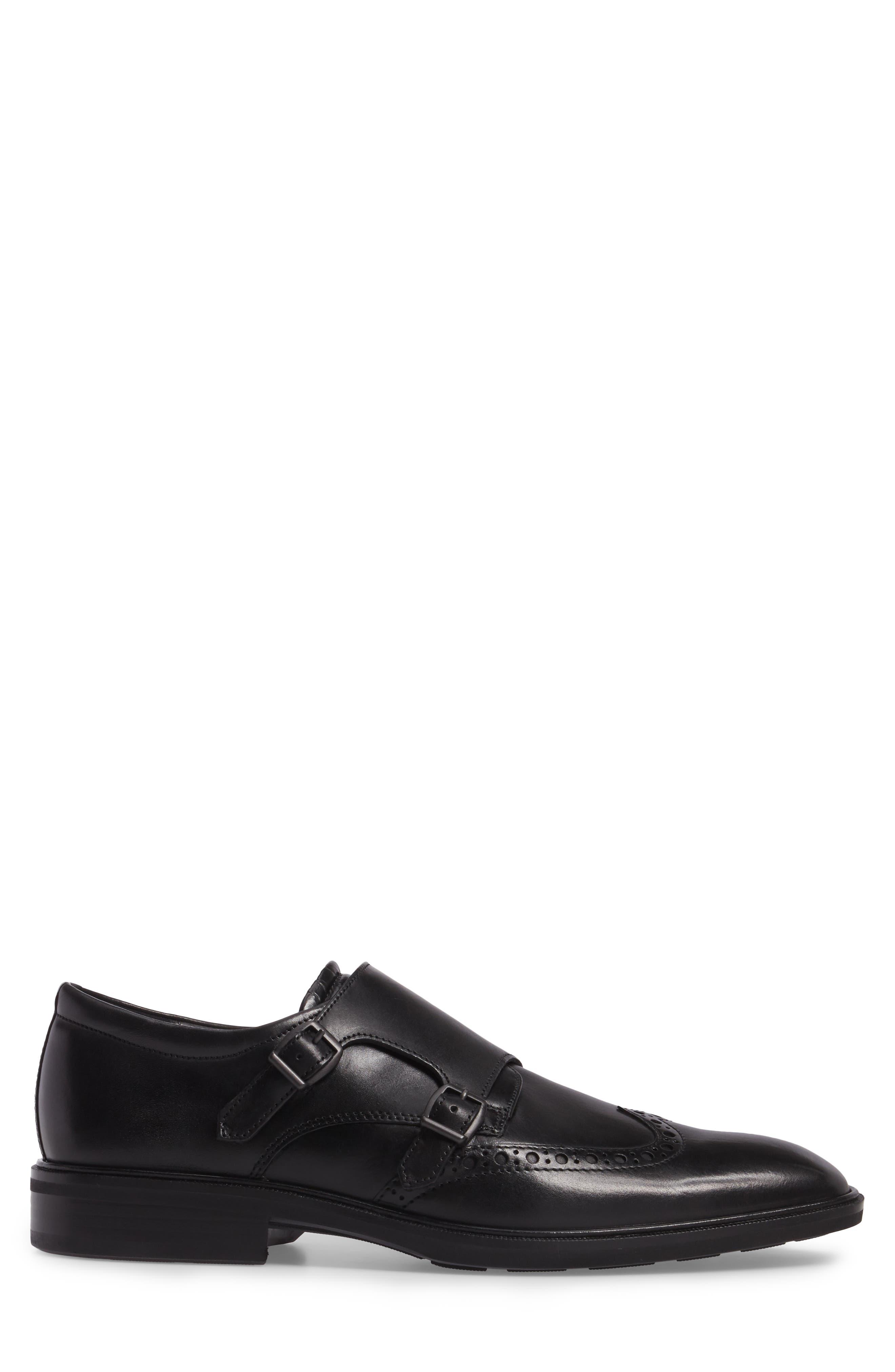 Illinois Double Monk Strap Shoe,                             Alternate thumbnail 3, color,                             Black Leather