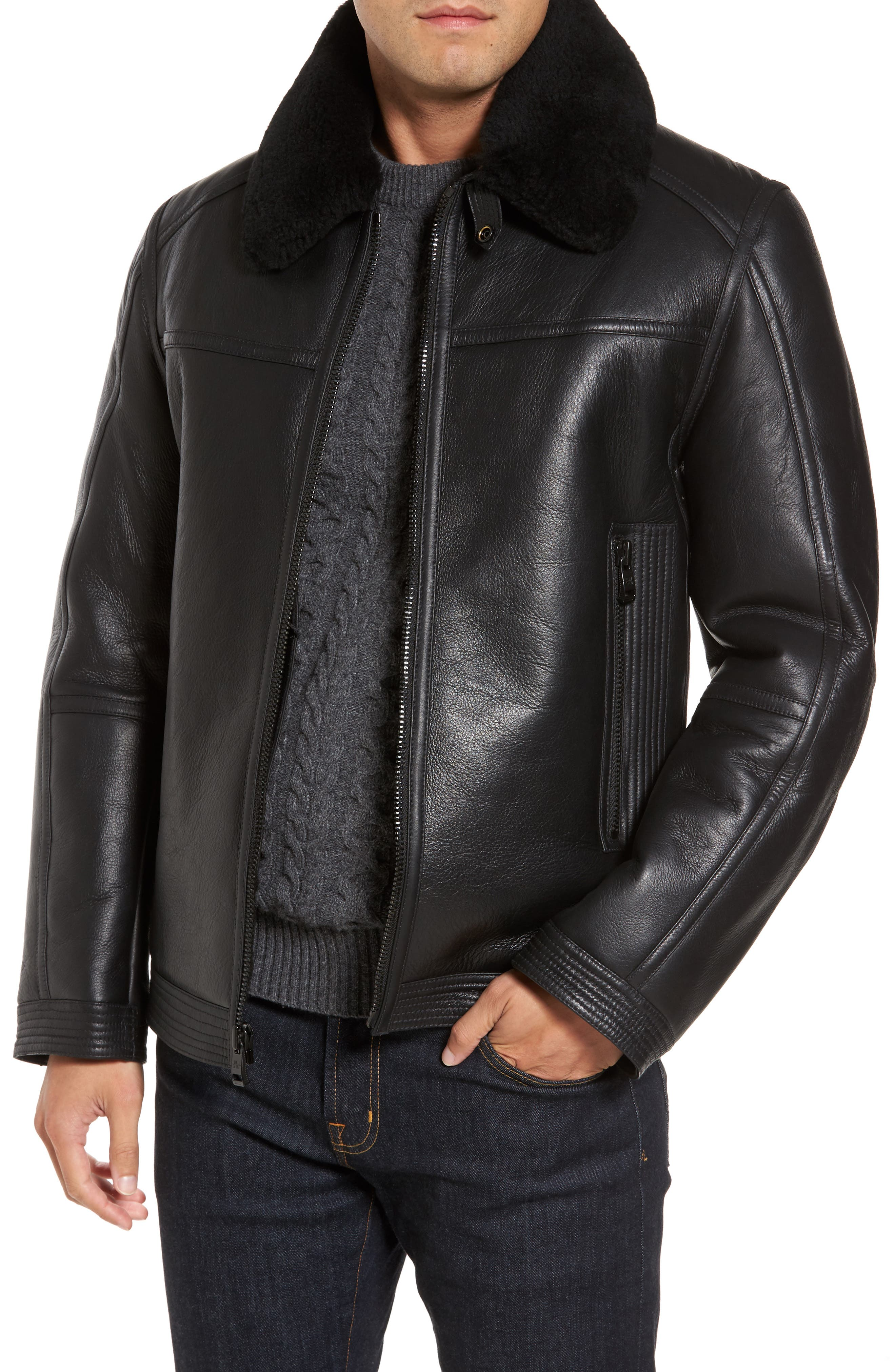 Leather Jacket with Genuine Shearling Collar,                             Main thumbnail 1, color,                             Black