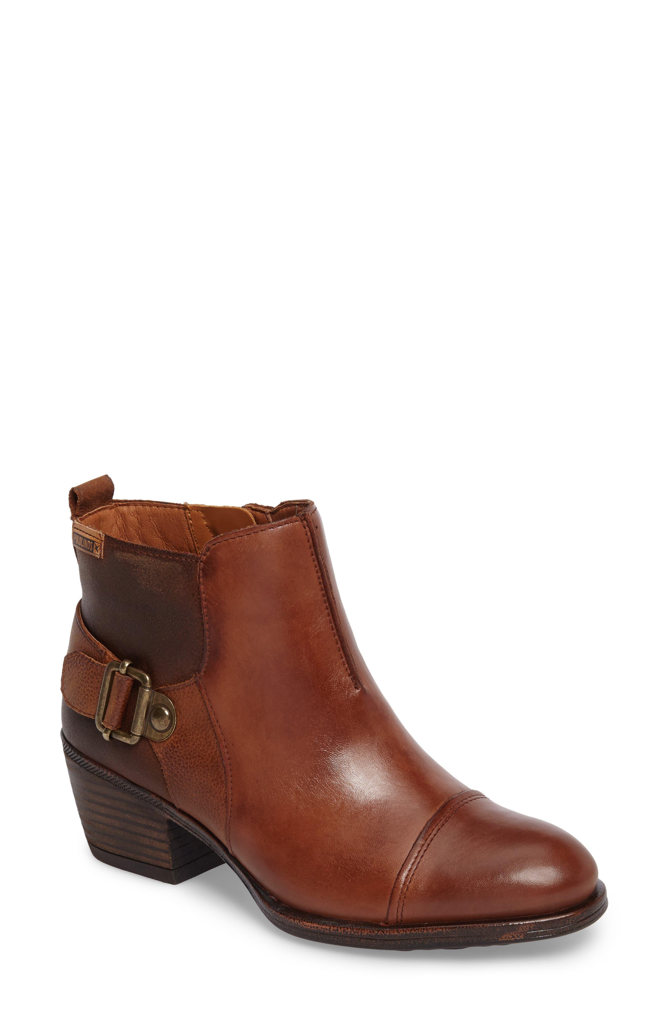 Baqueira Buckle Bootie,                         Main,                         color, Cuero Brandy Leather