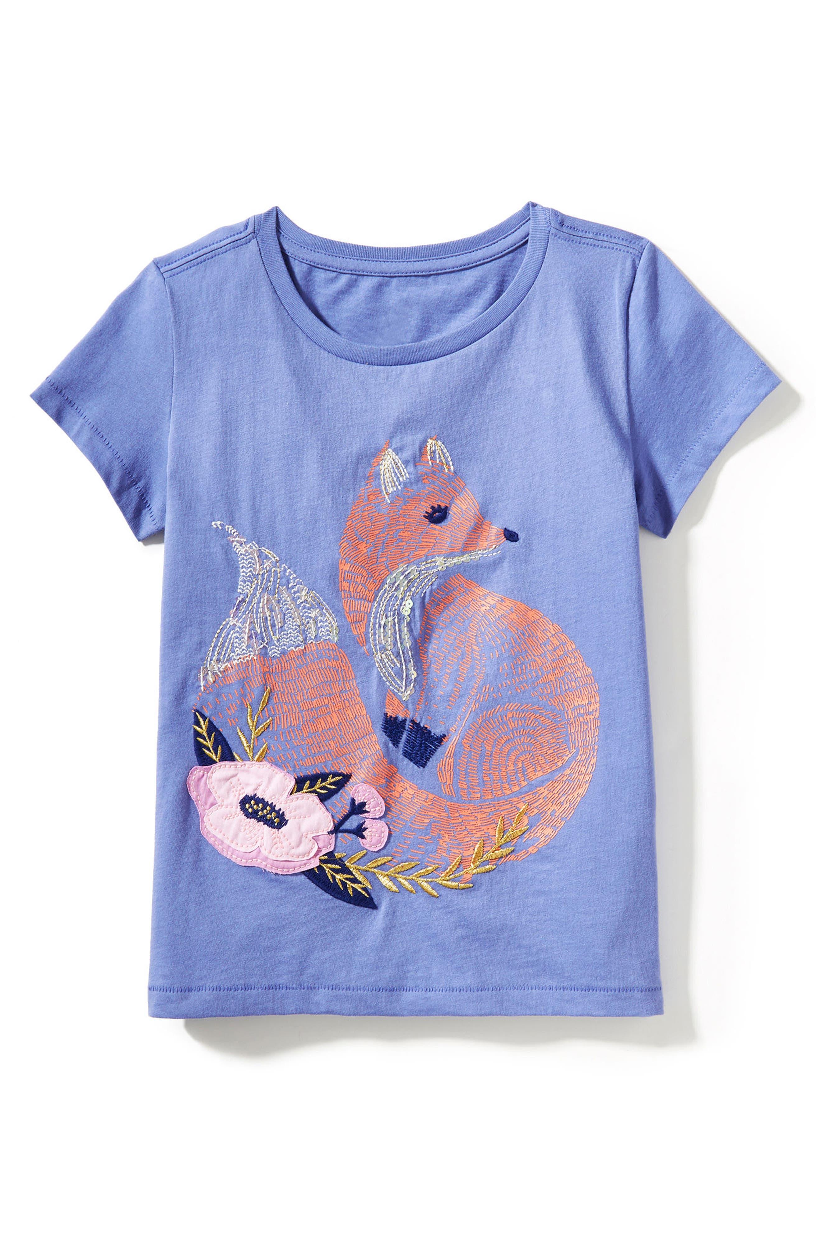 Peek Fox Embroidered Tee (Toddler Girls, Little Girls & Big Girls)