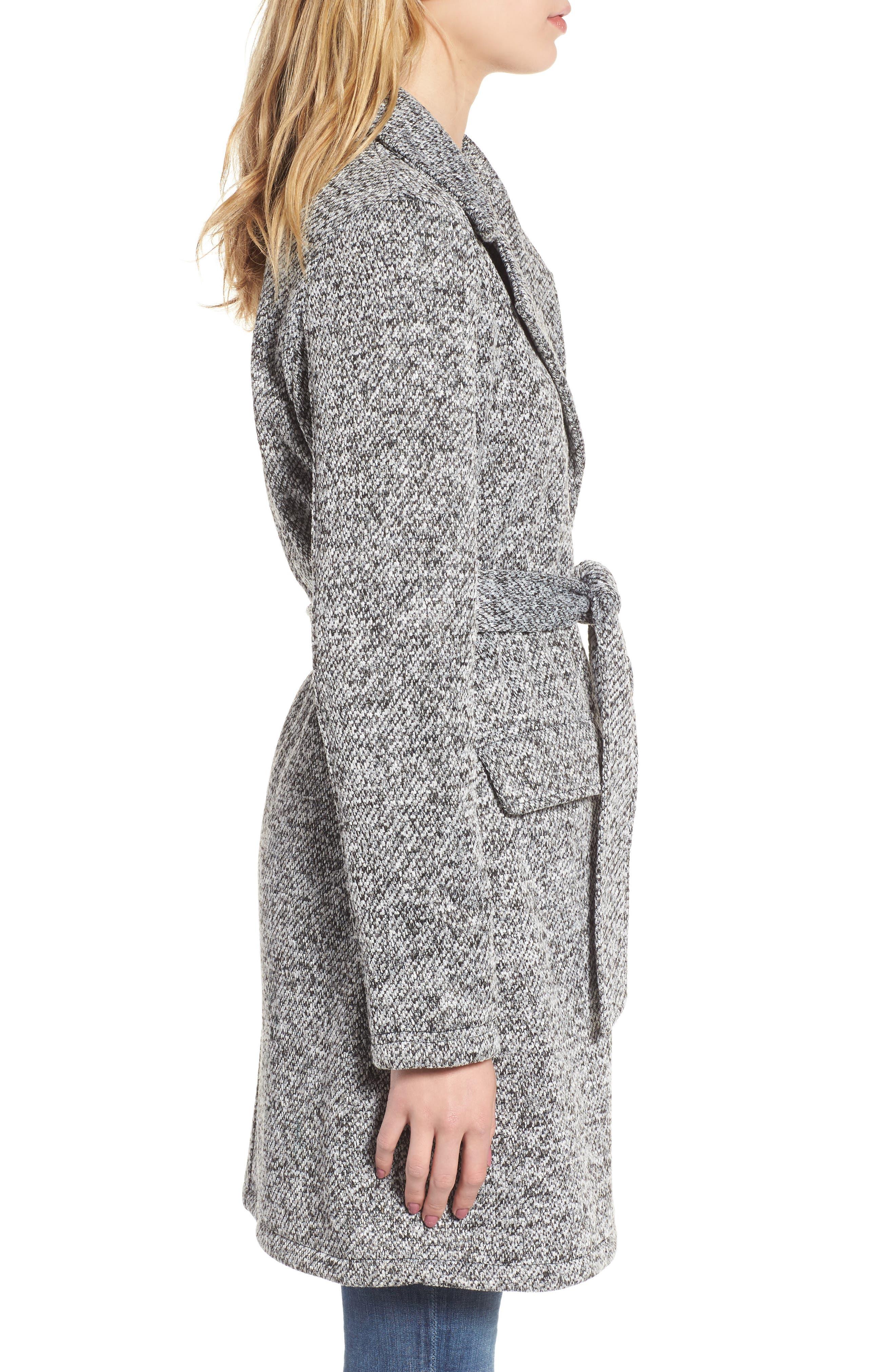 Belted Fleece Jacket,                             Alternate thumbnail 3, color,                             Light Grey Heather