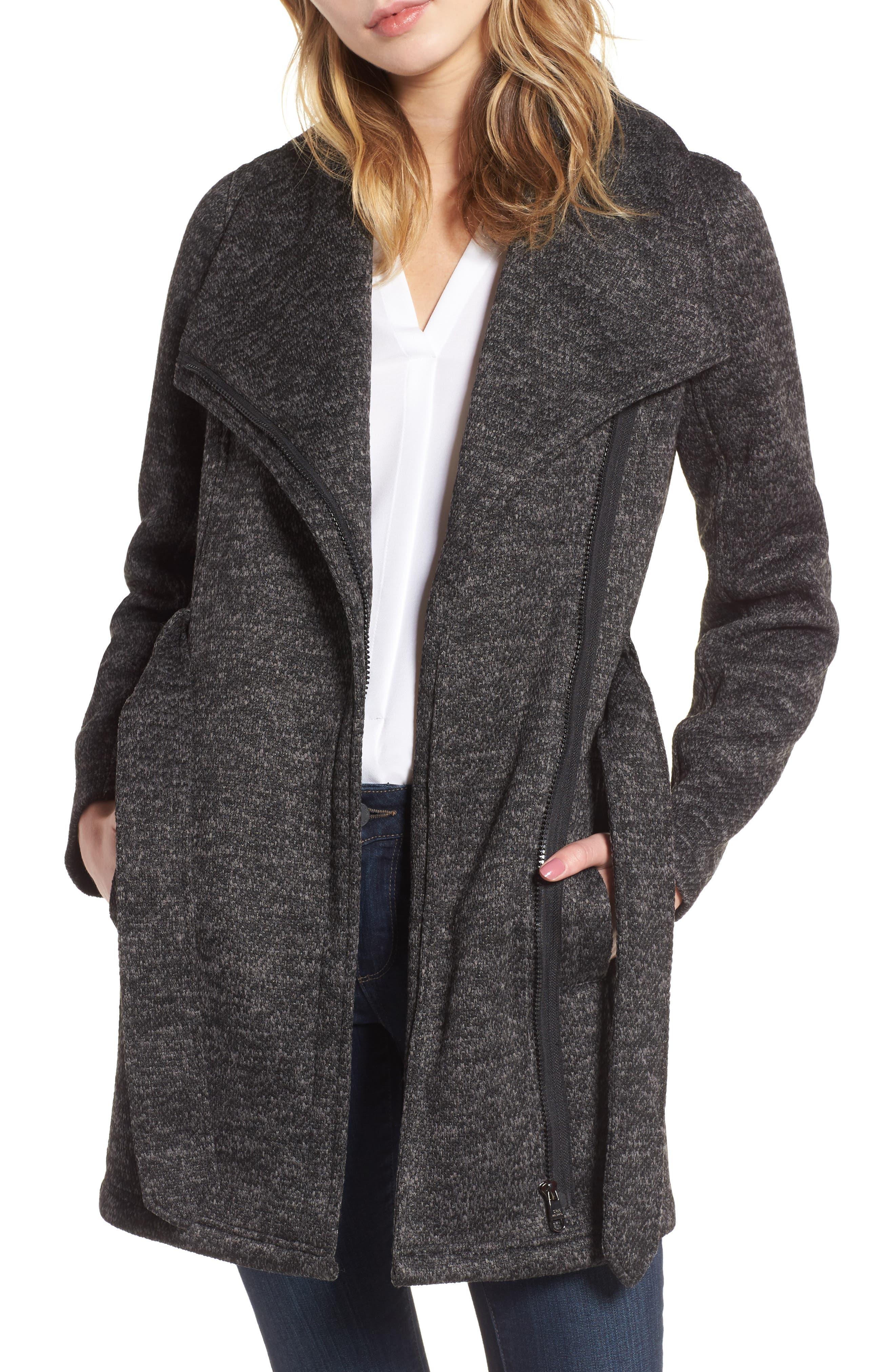 Fleece Wrap Coat,                             Alternate thumbnail 3, color,                             Charcoal Heather