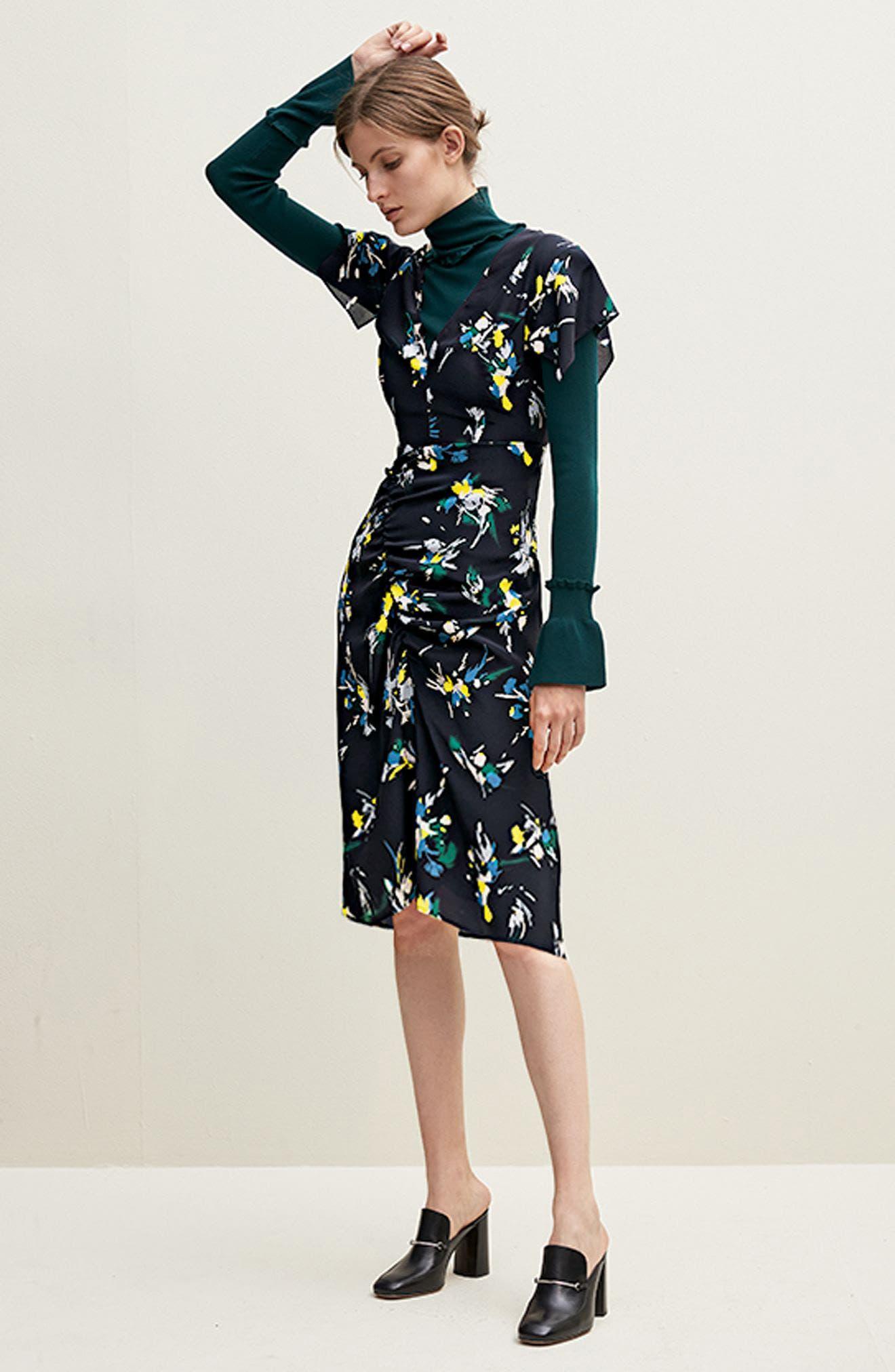 Print Silk Dress,                             Alternate thumbnail 2, color,