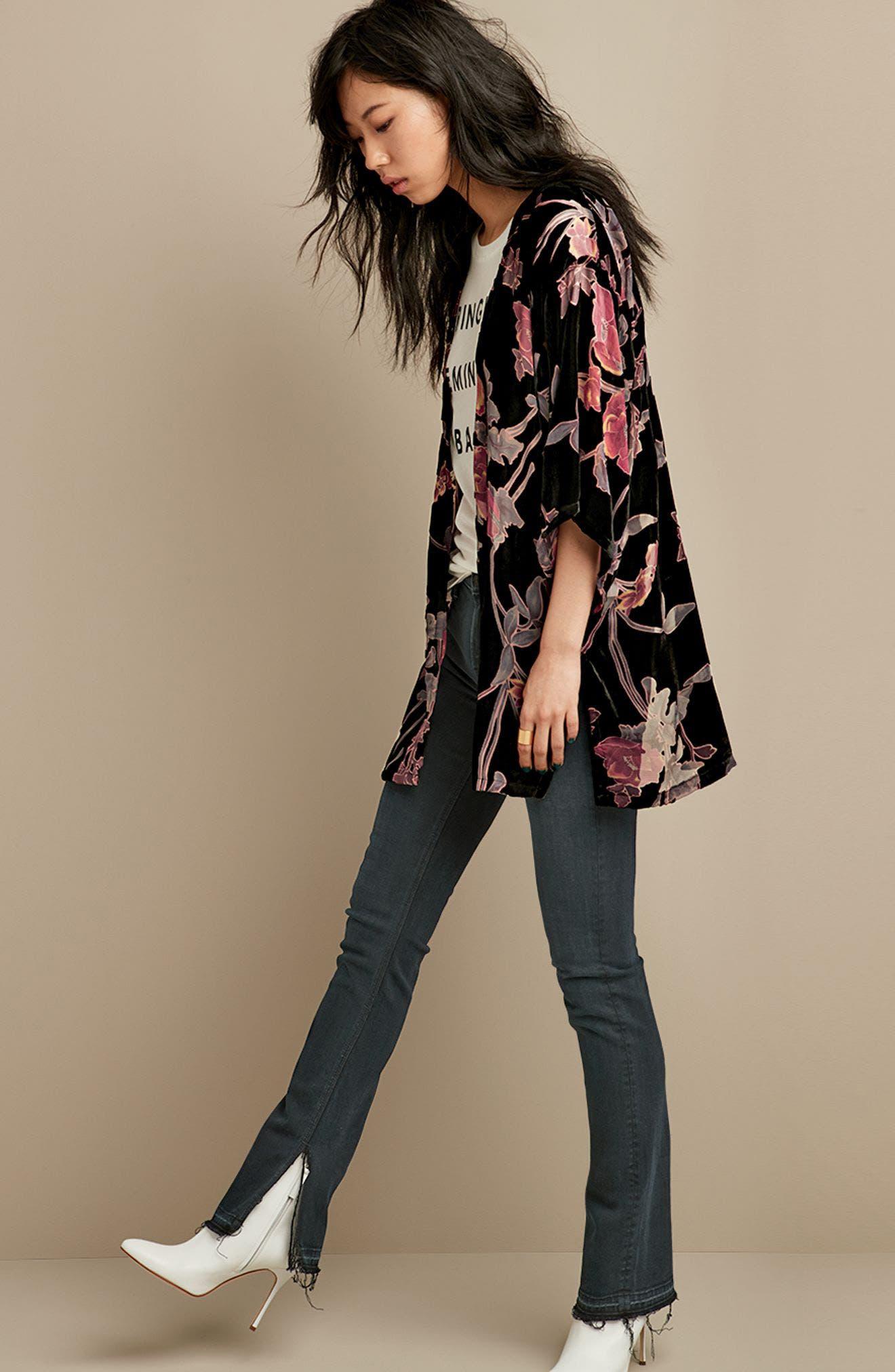 Alternate Image 6  - Hinge Burnout Floral Velvet Kimono