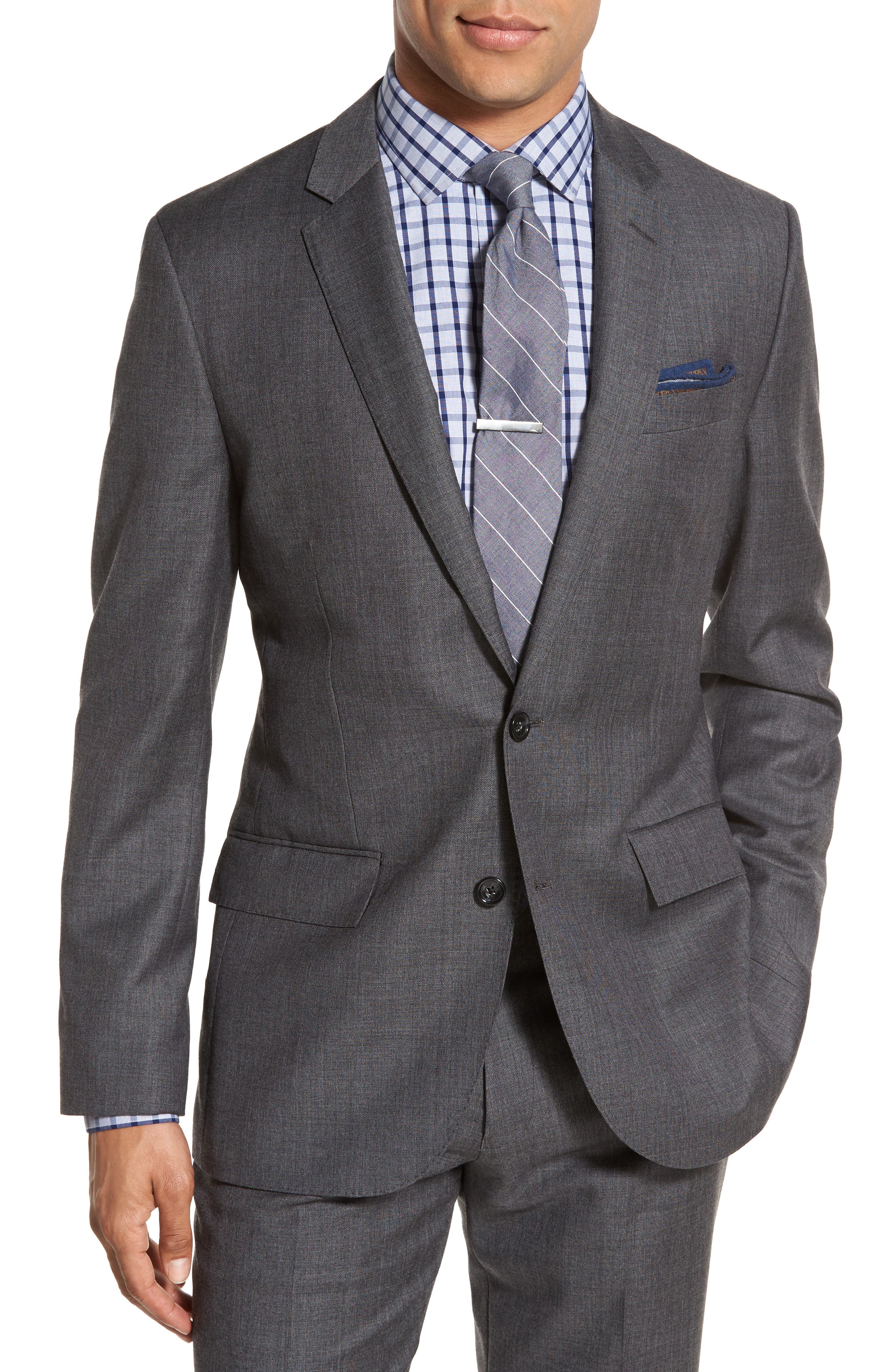 J.Crew Ludlow Trim Fit Solid Wool Sport Coat,                         Main,                         color, Charcoal