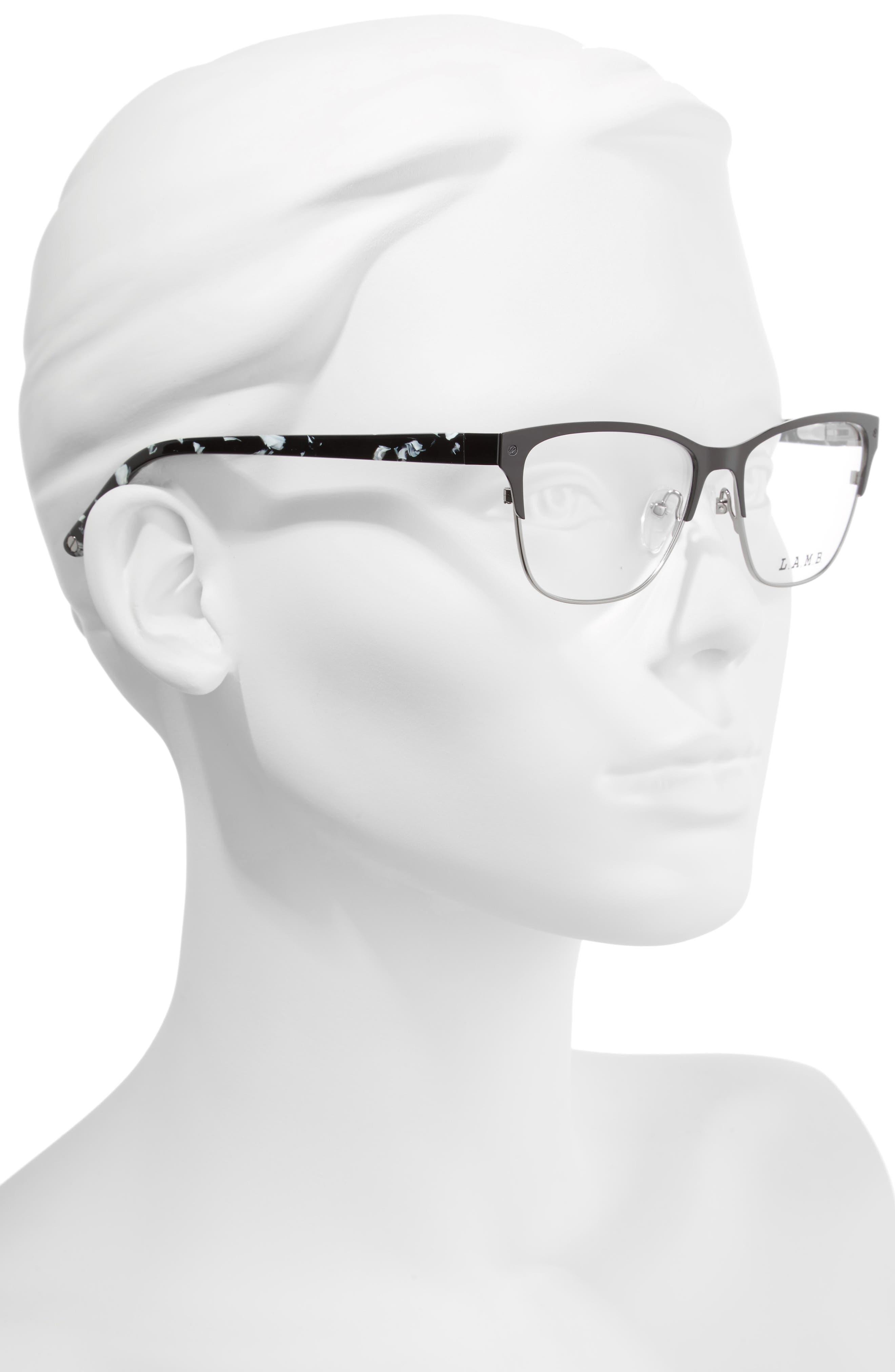 52mm Cat Eye Optical Glasses,                             Alternate thumbnail 2, color,                             Black