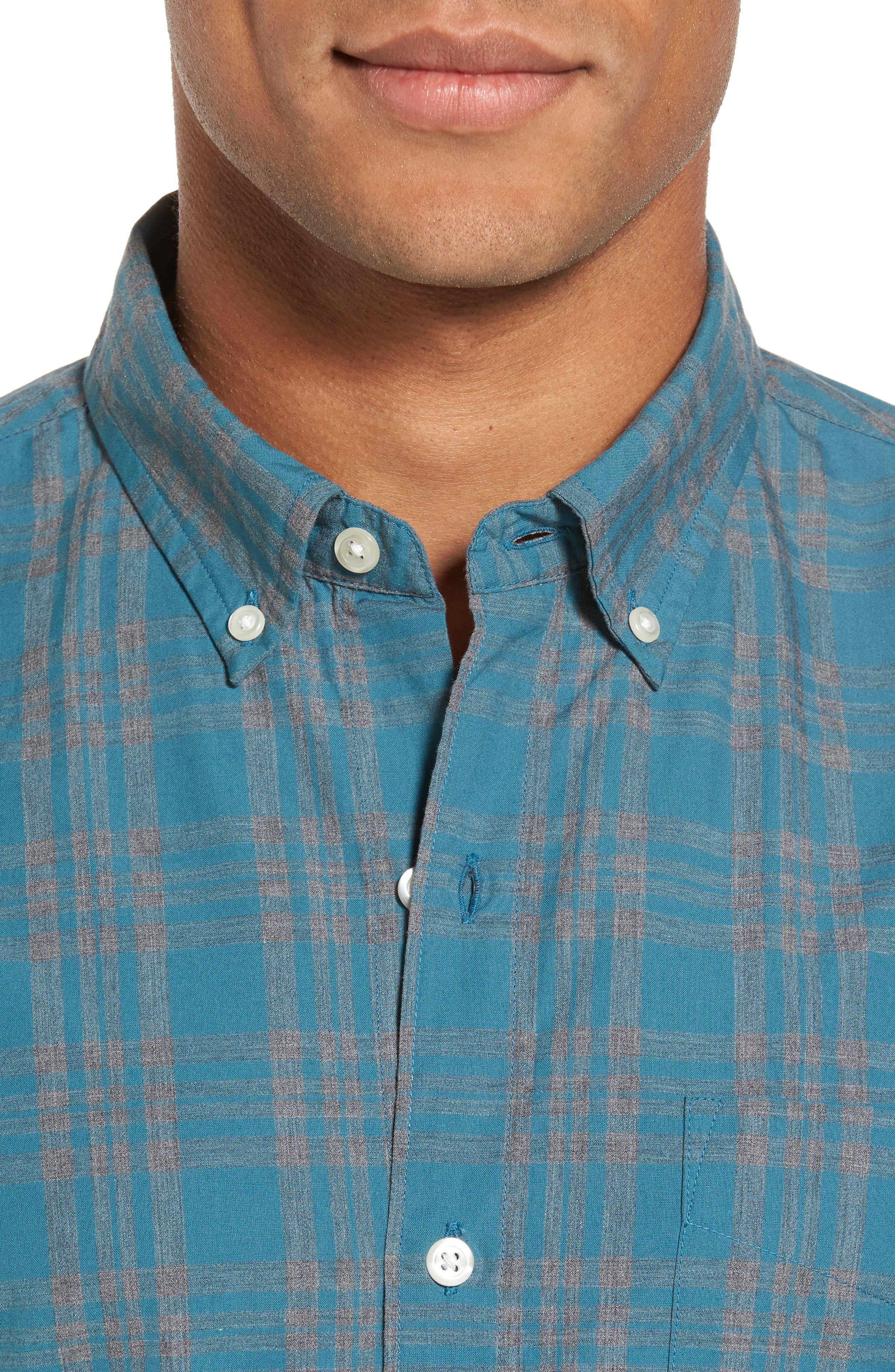 Slim Fit Check Sport Shirt,                             Alternate thumbnail 4, color,                             Ace Green Check