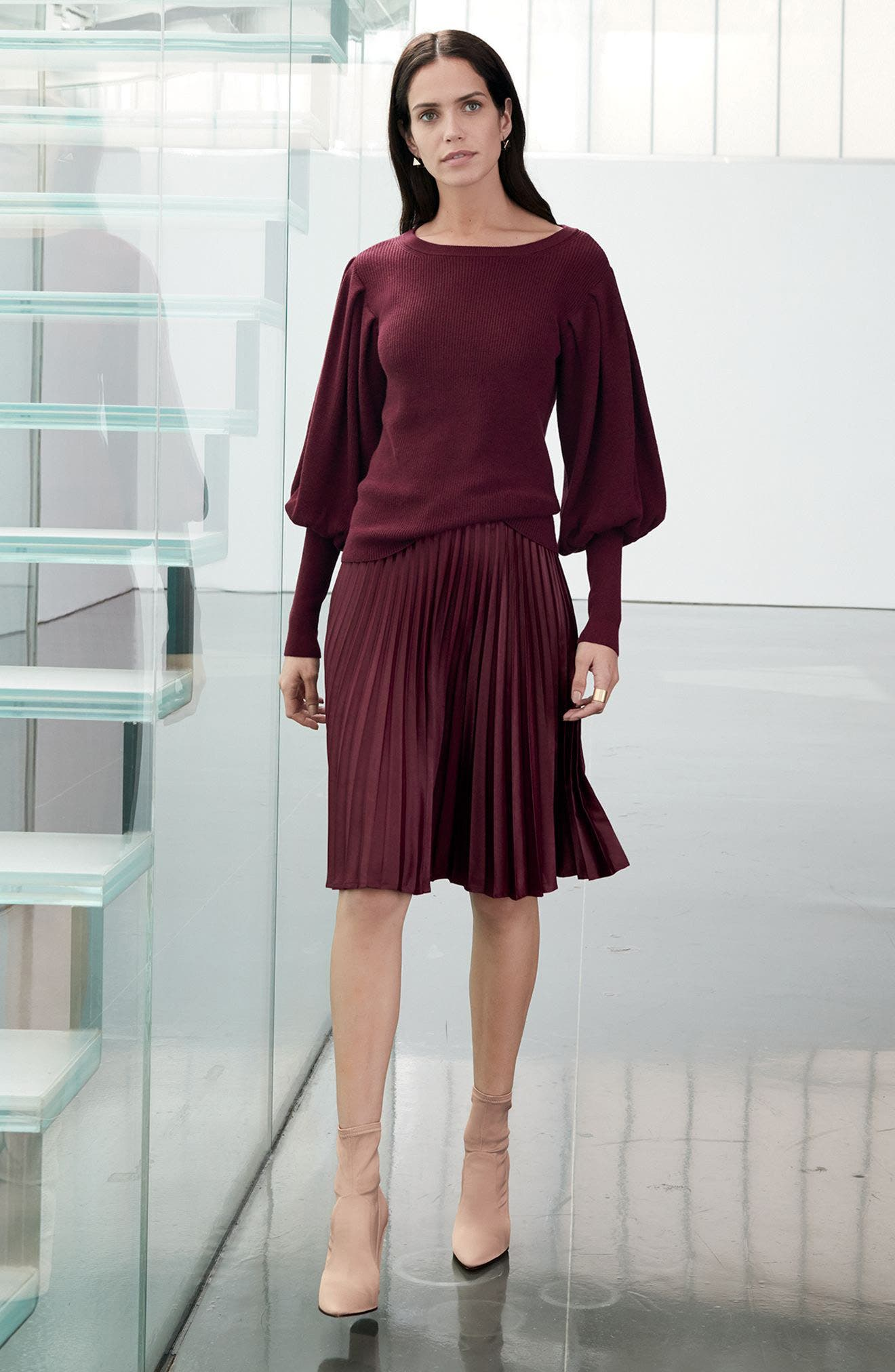 Lacquered Pleated Skirt,                             Alternate thumbnail 2, color,                             Deep Claret