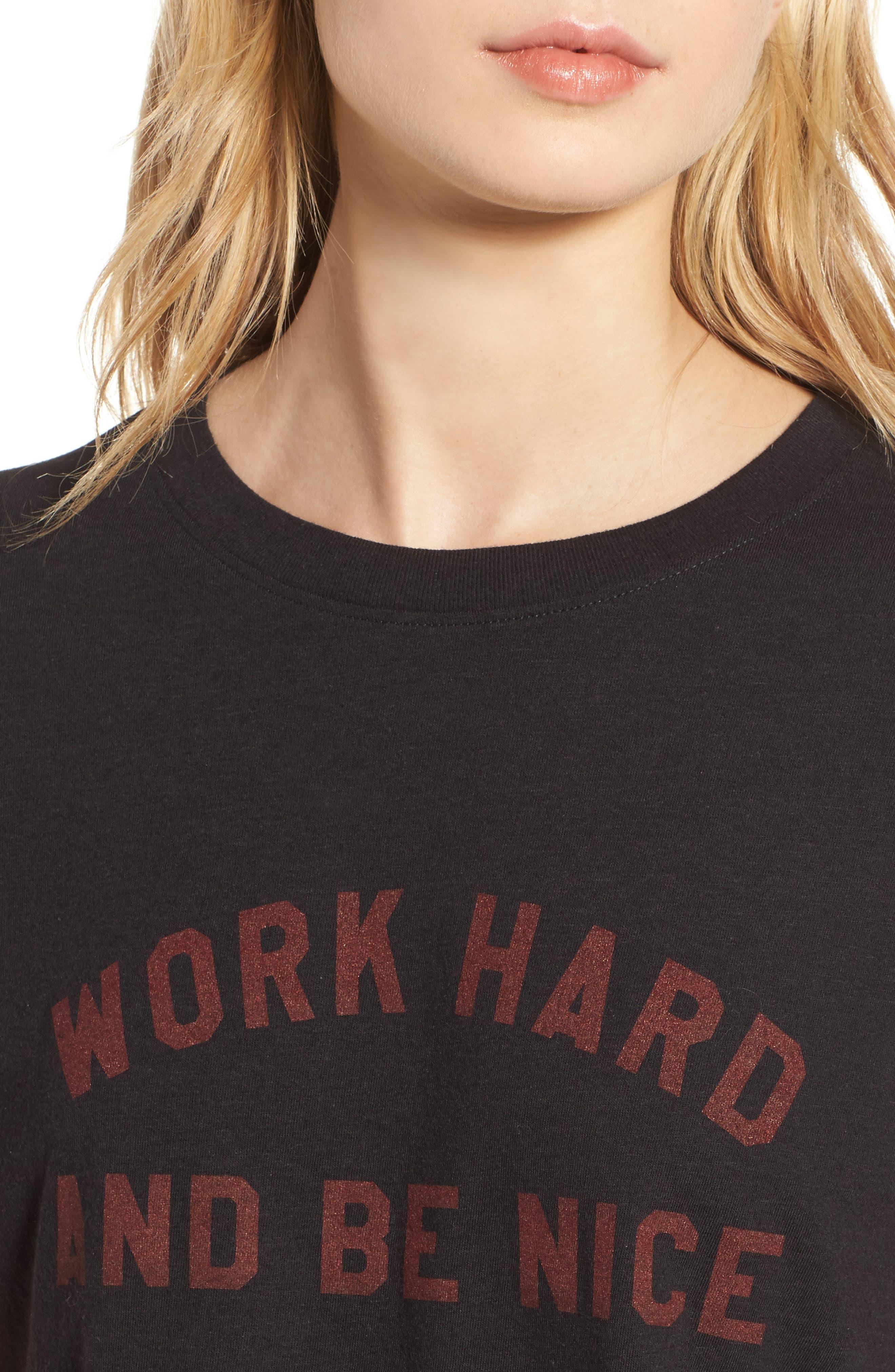'Work Hard' Graphic Tee,                             Alternate thumbnail 4, color,                             Black