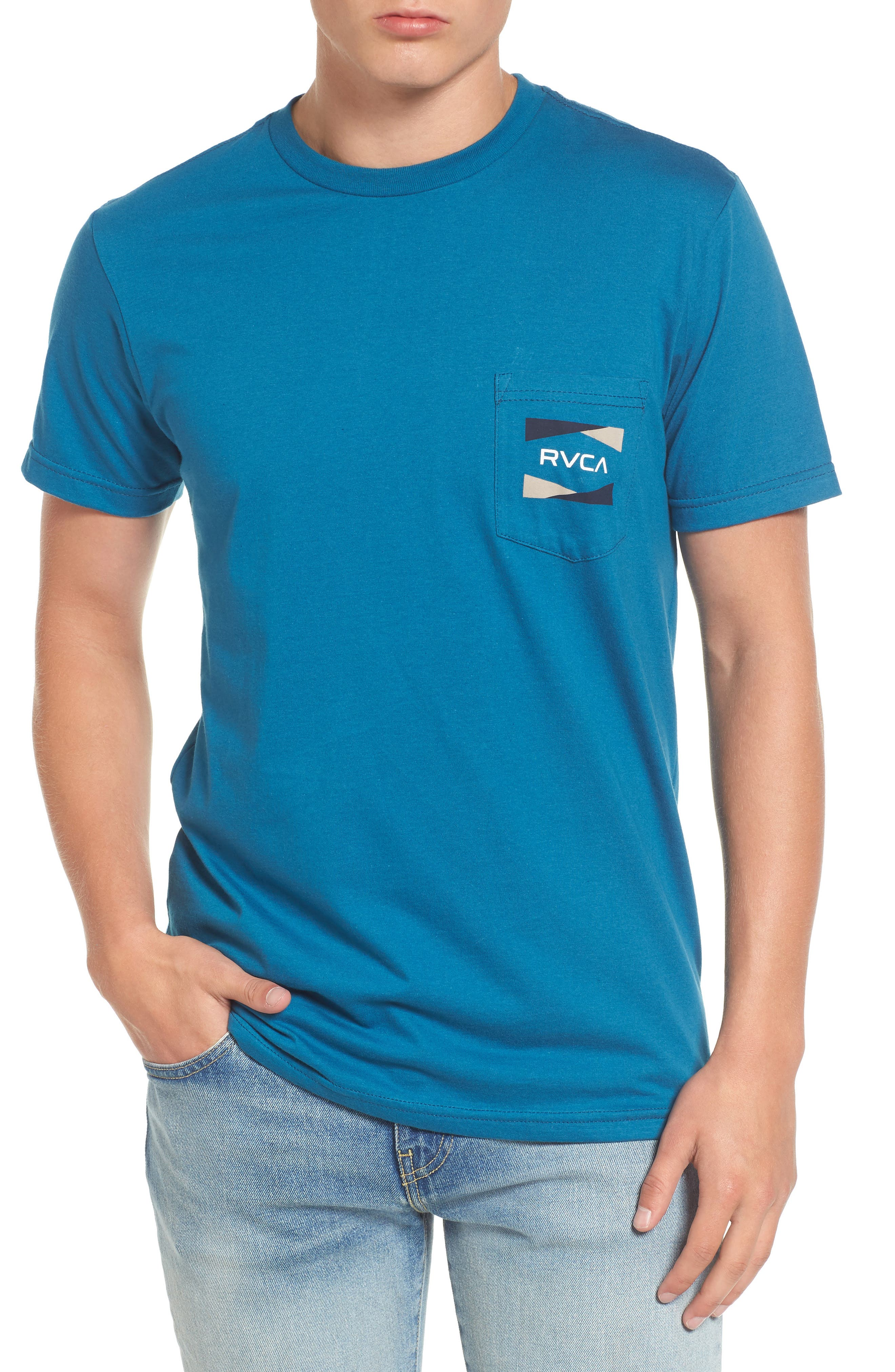 Nation 2 Graphic Pocket T-Shirt,                             Main thumbnail 1, color,                             Blue Tide