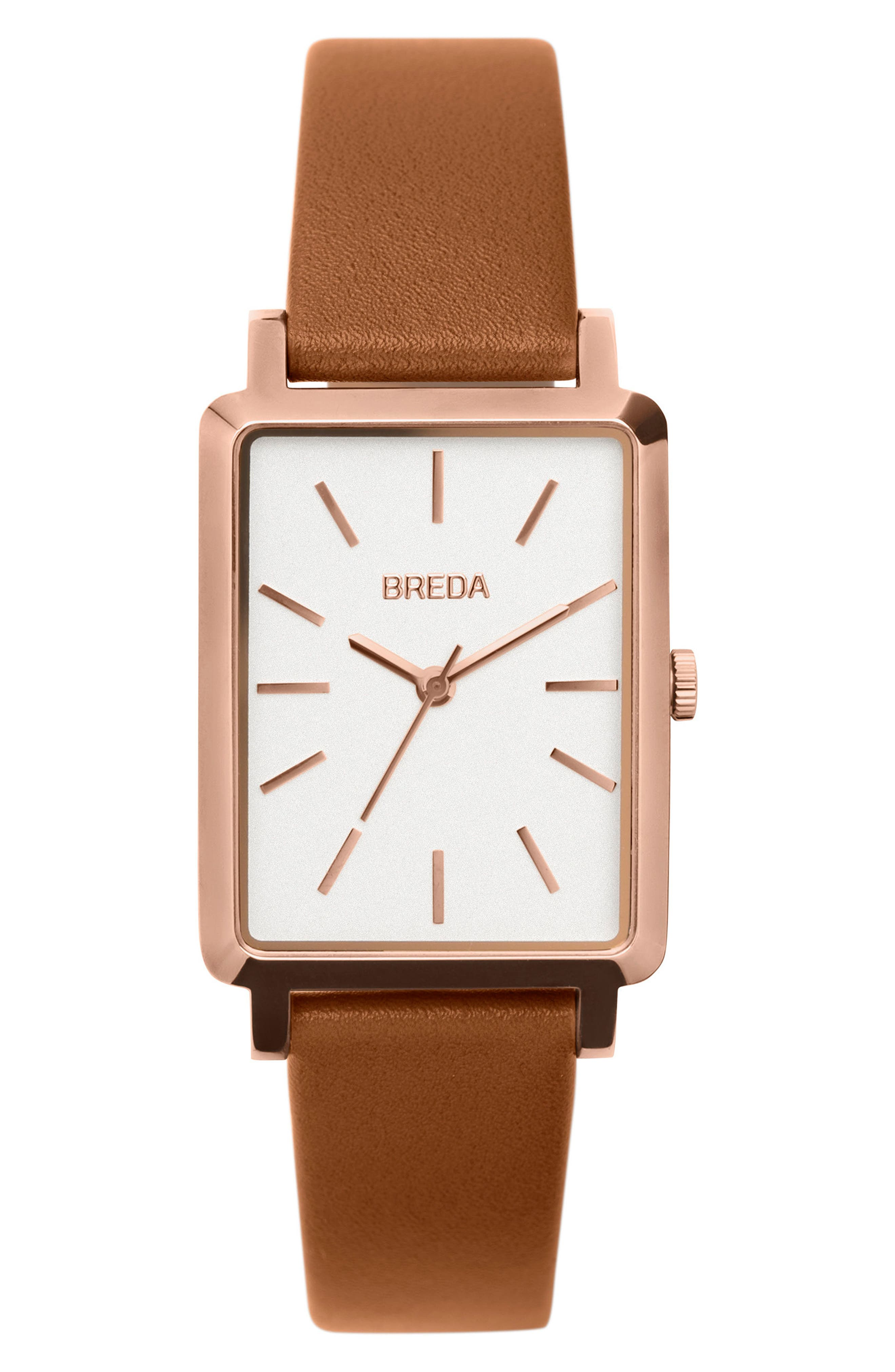 Baer Rectangular Leather Strap Watch, 26mm,                             Main thumbnail 1, color,                             Brown/ Rose Gold