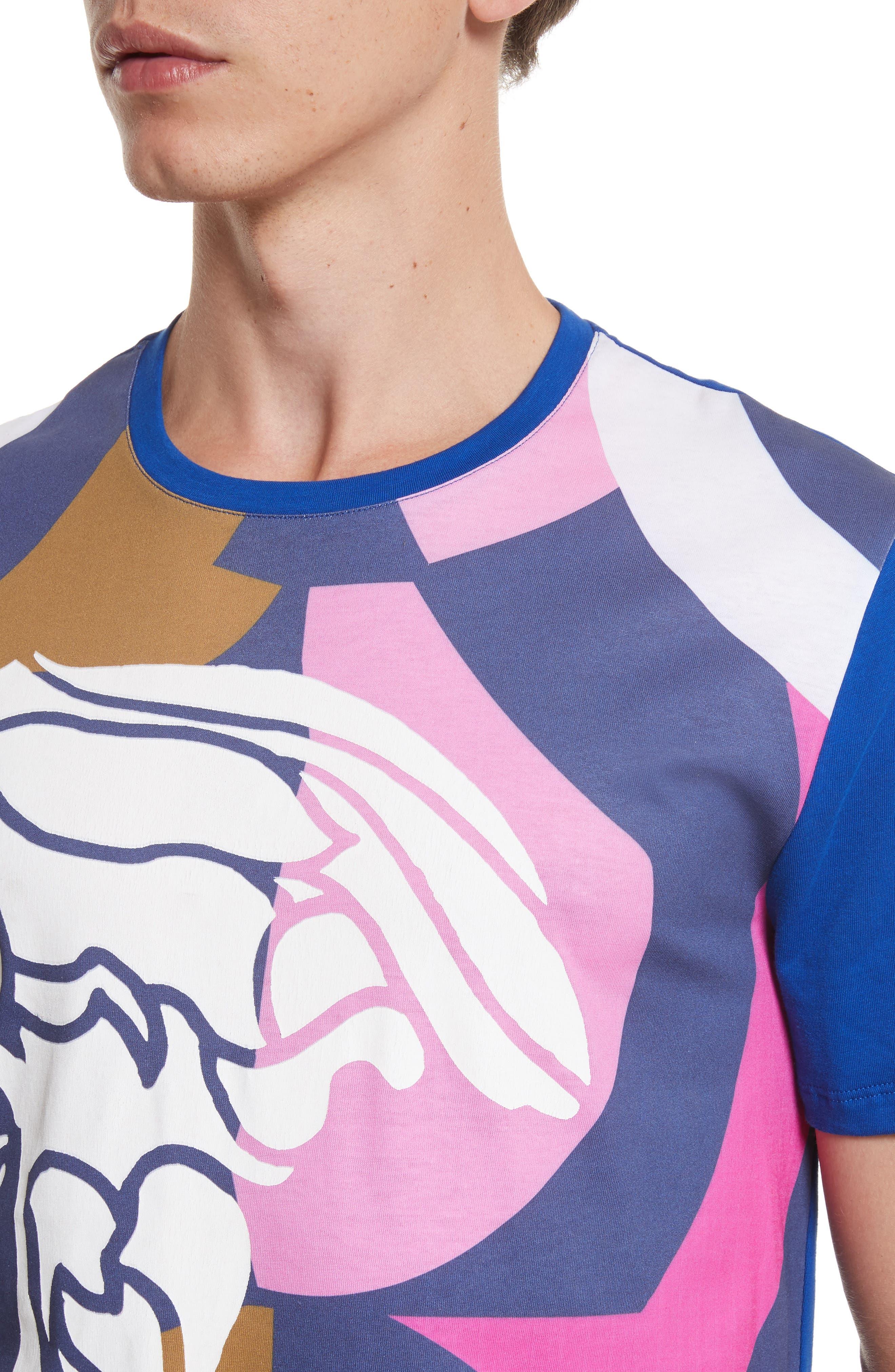 Abstract Medusa Print T-Shirt,                             Alternate thumbnail 4, color,                             Royal Blue