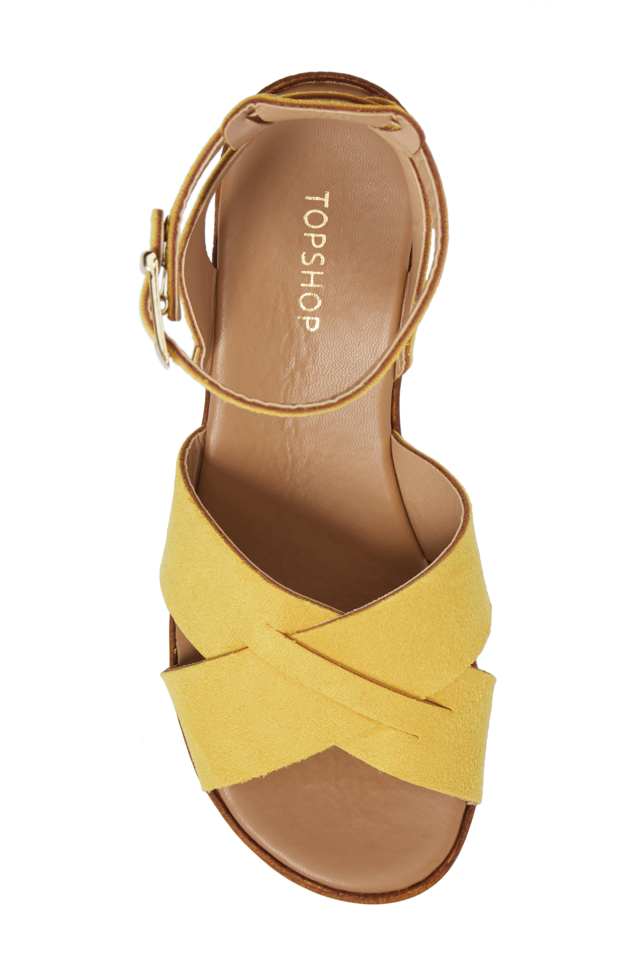 Dolly Block Heel Sandal,                             Alternate thumbnail 7, color,                             Yellow