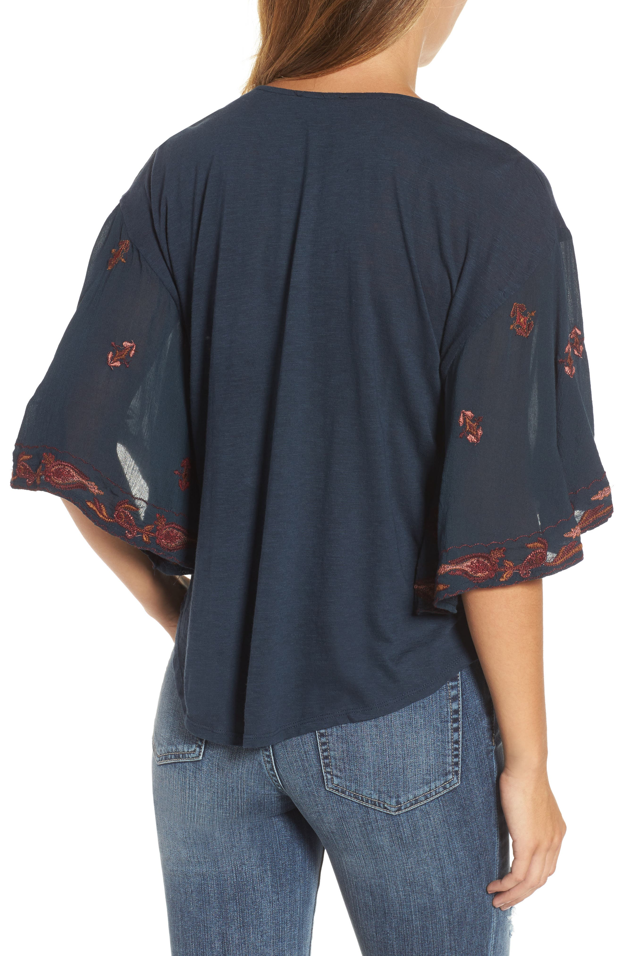 Embroidered Lace Up Peasant Top,                             Alternate thumbnail 2, color,                             Blueberry