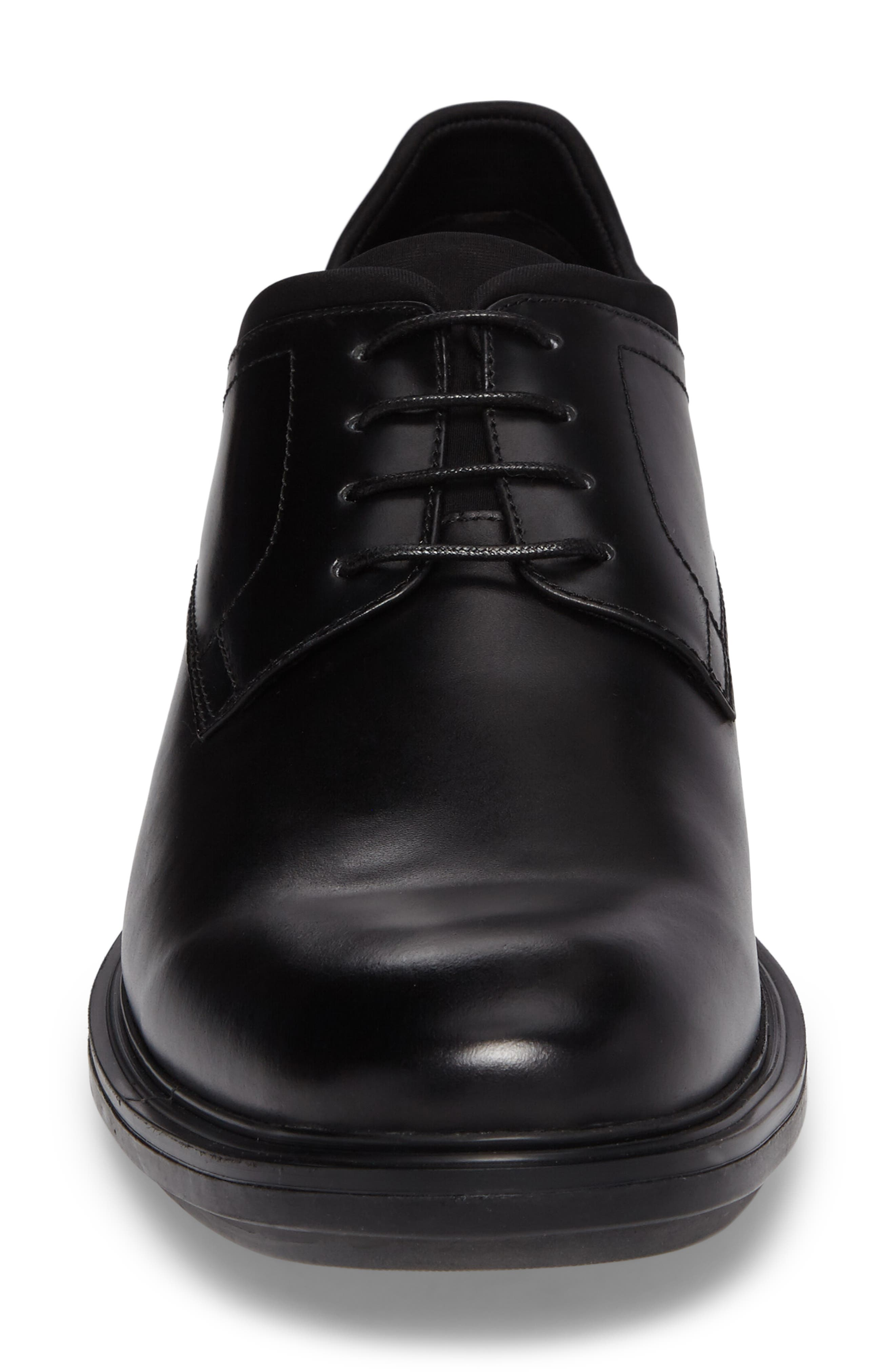 Plain Toe Derby,                             Alternate thumbnail 4, color,                             Black Leather