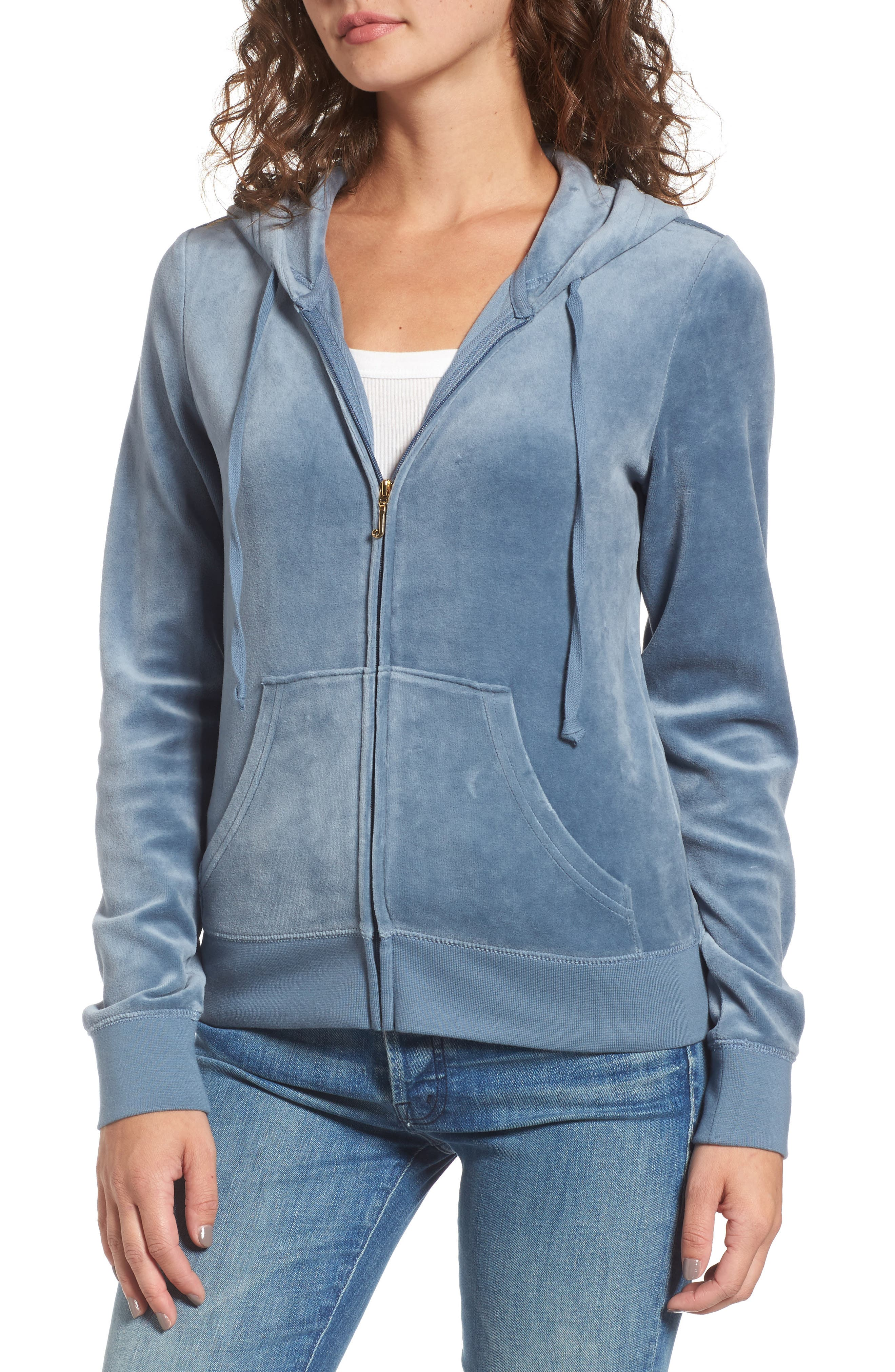 Robertson Crystal Velour Hoodie,                             Alternate thumbnail 4, color,                             Dusty Navy