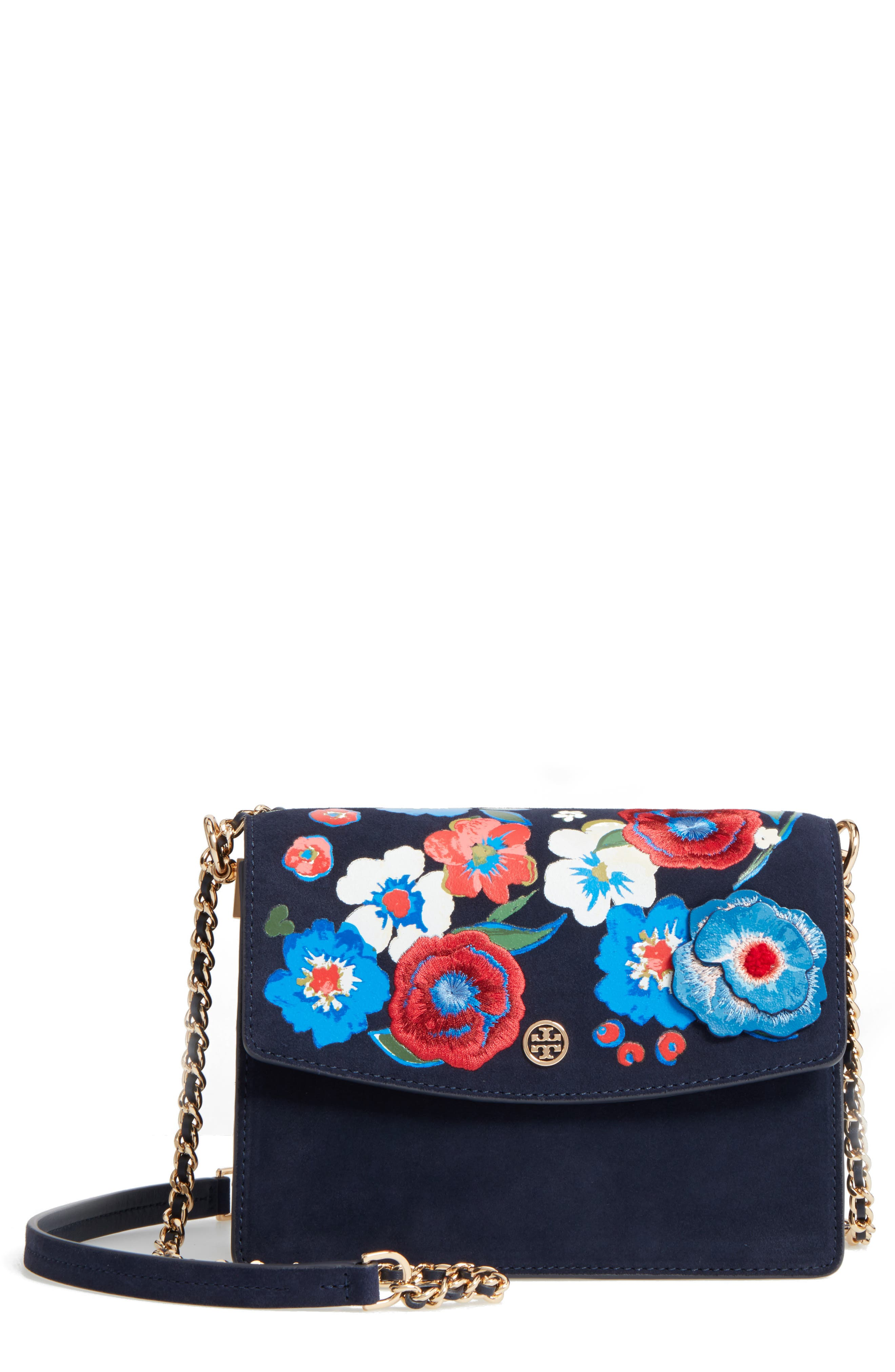 Main Image - Tory Burch Parker Flower Embroidered Leather Shoulder/Crossbody Bag