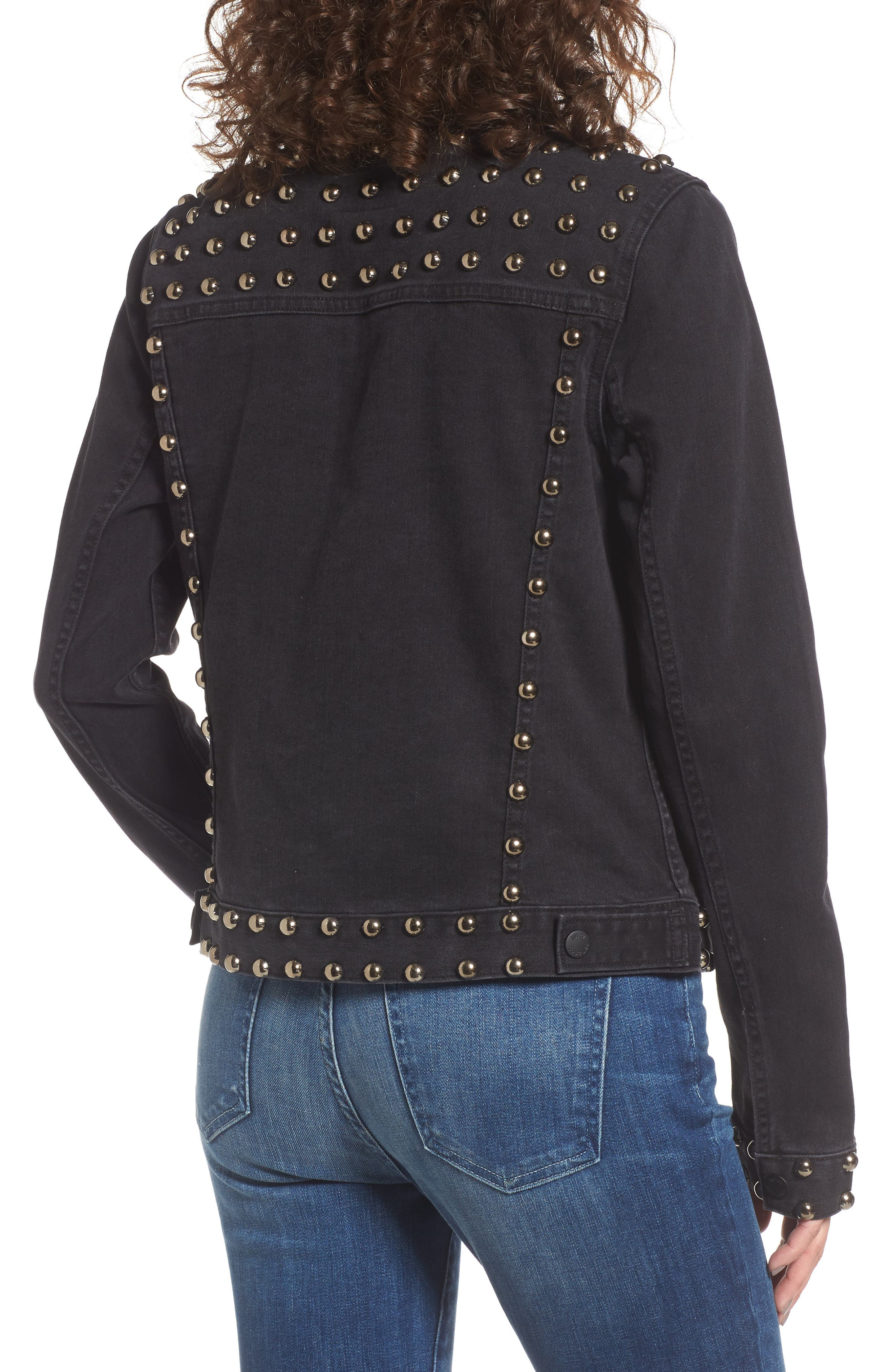 Studded Denim Jacket,                             Alternate thumbnail 2, color,                             Ebony Wash