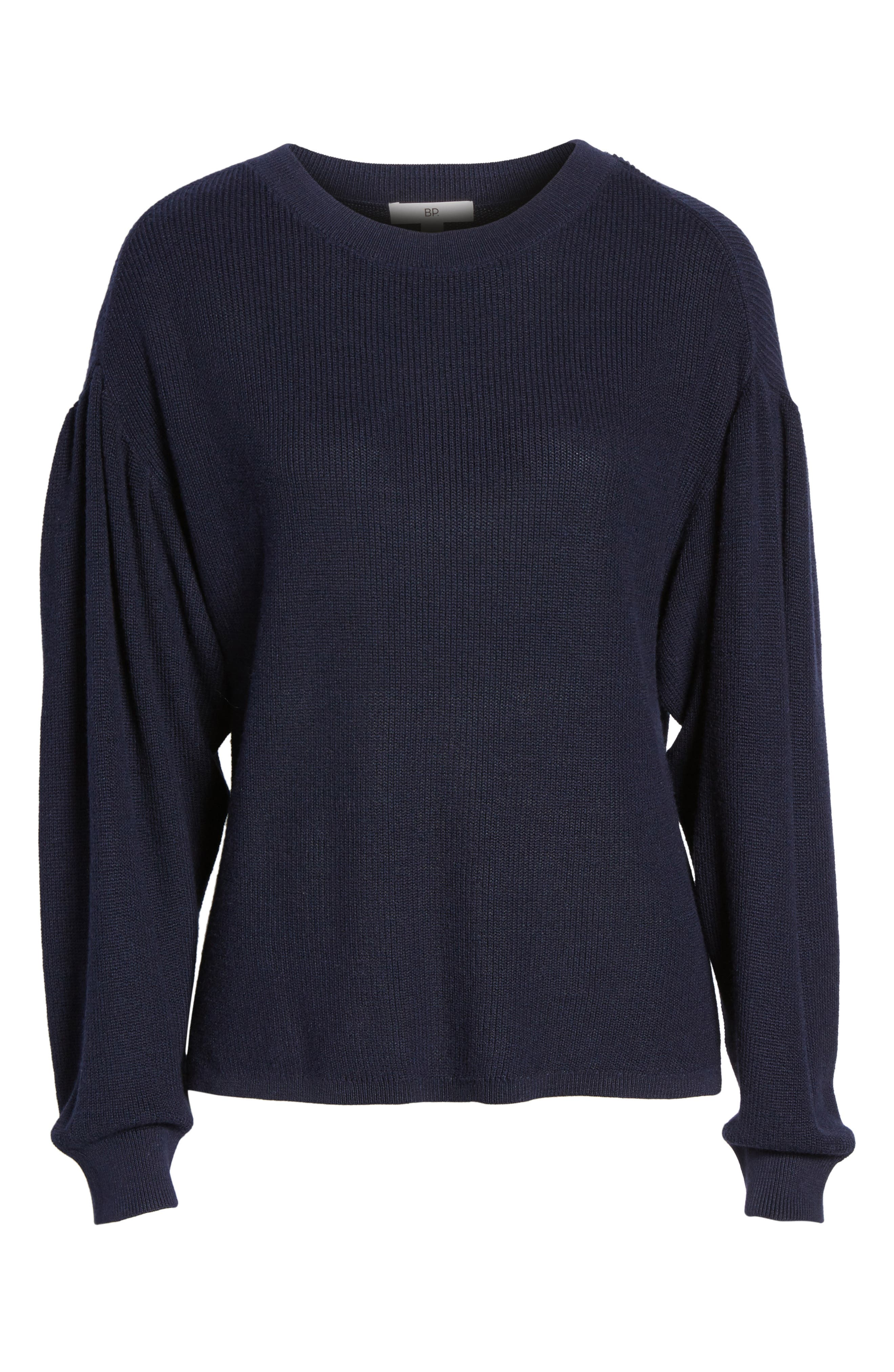 Drape Sleeve Sweater,                             Alternate thumbnail 6, color,                             Navy Evening