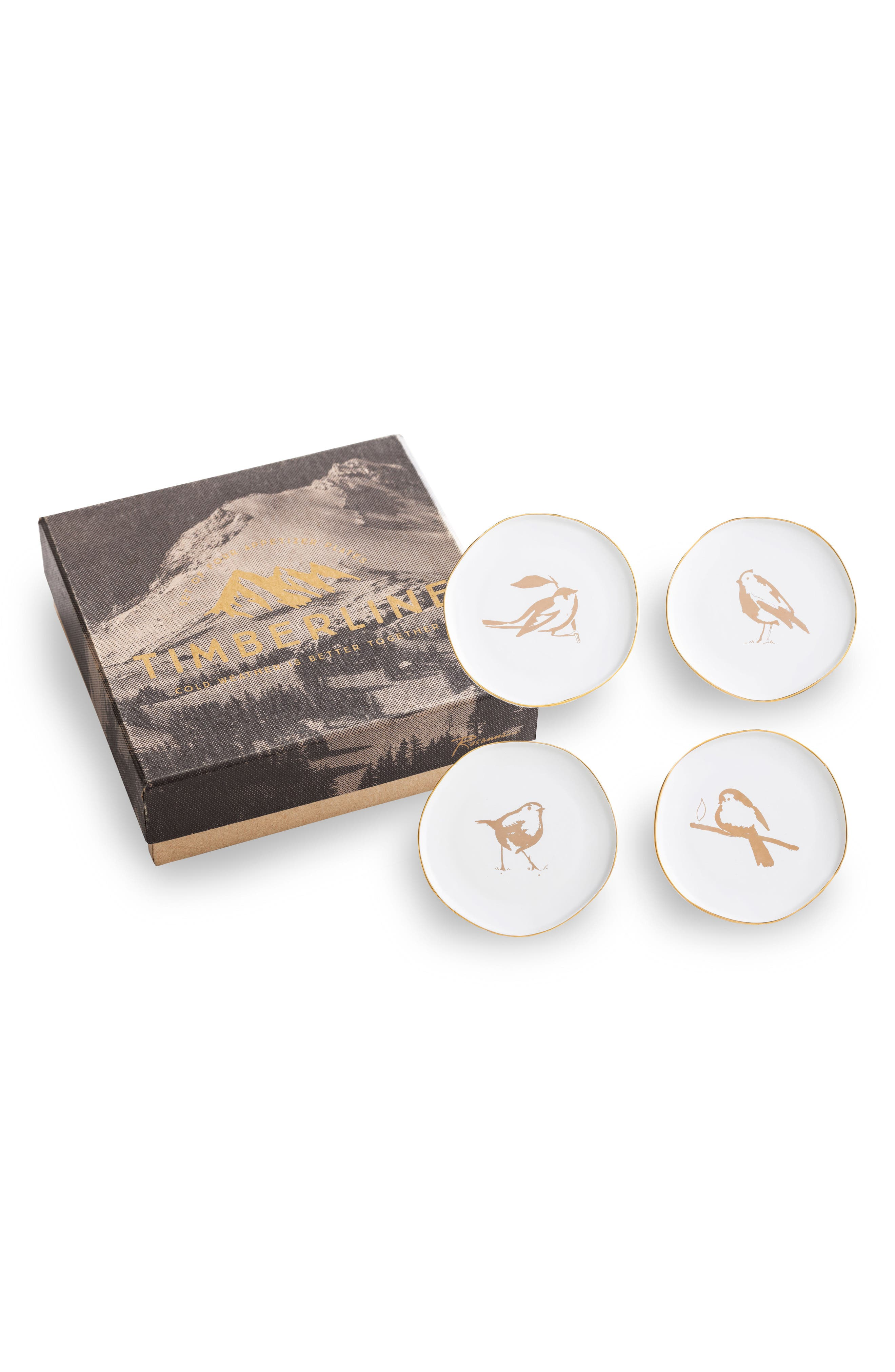 Set of 4 Bird Plates,                             Main thumbnail 1, color,                             White