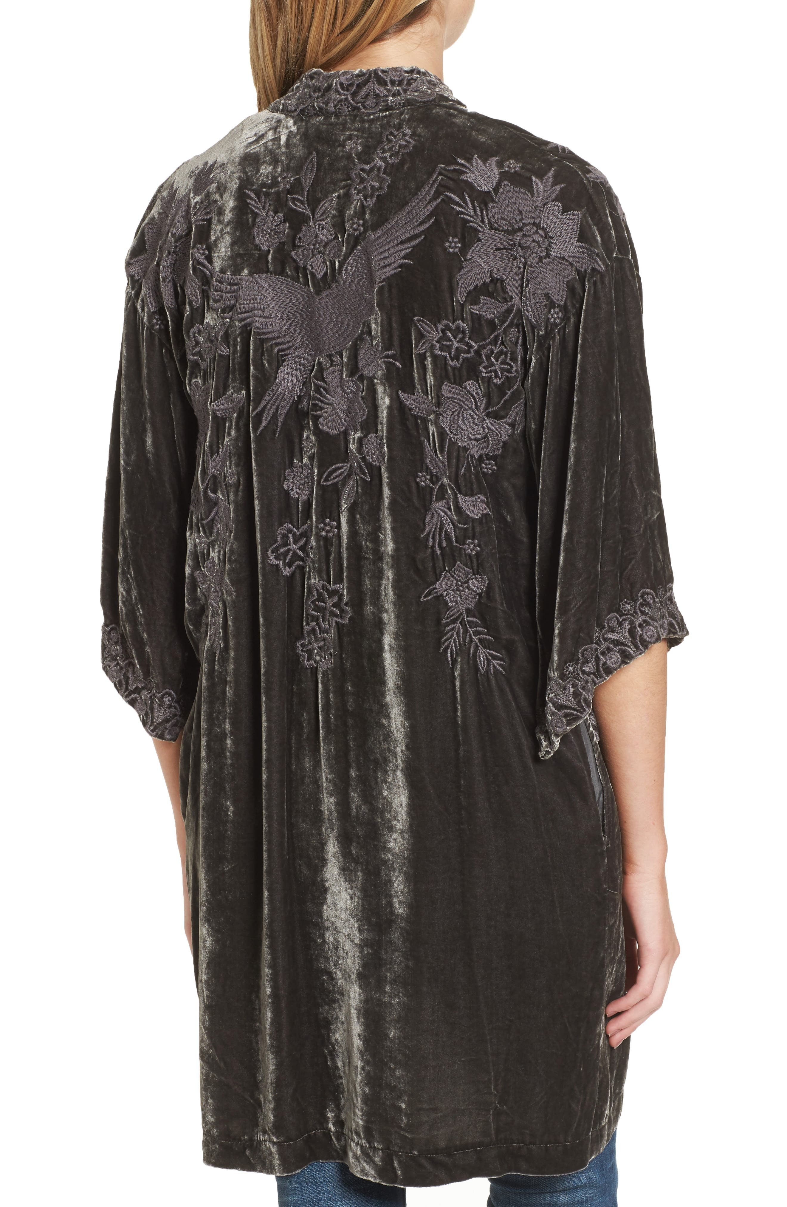 Parina Embroidered Velvet Kimono,                             Alternate thumbnail 2, color,                             Steel Grey