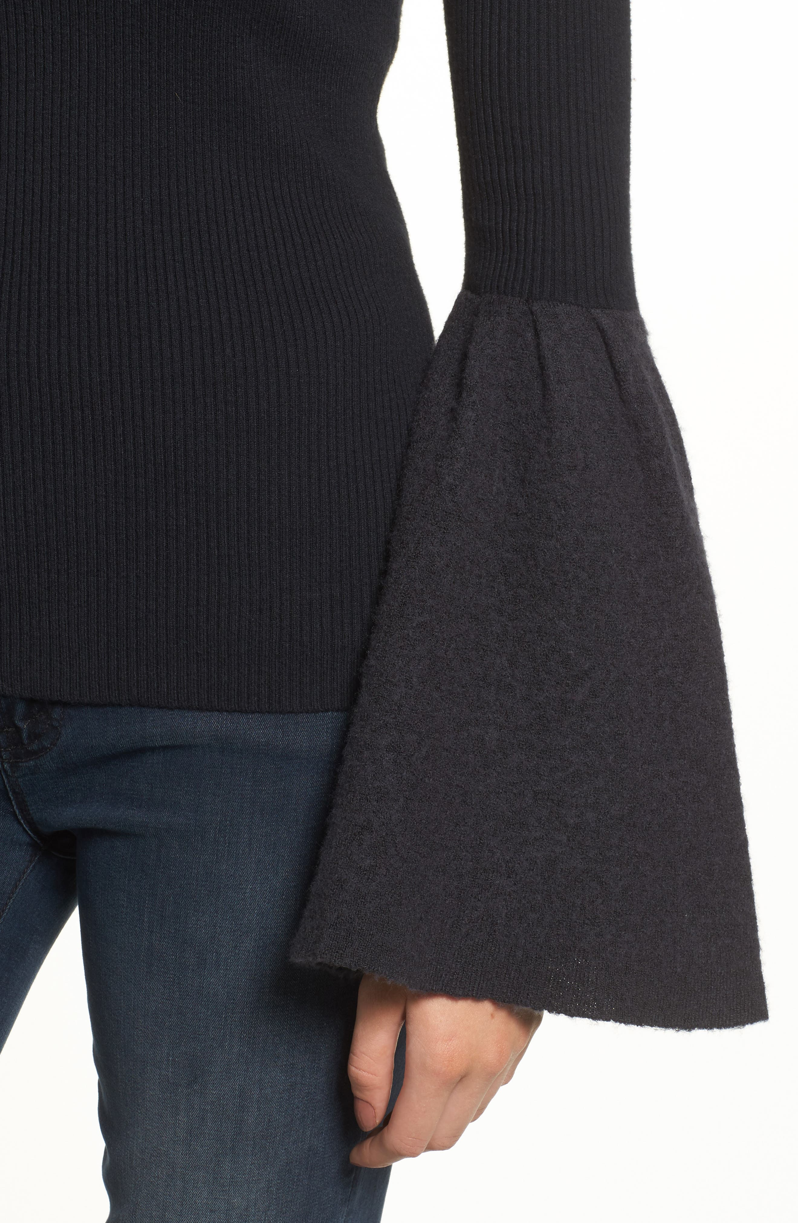Bell Sleeve Sweater,                             Alternate thumbnail 4, color,                             Black- Grey Dark Heather Combo