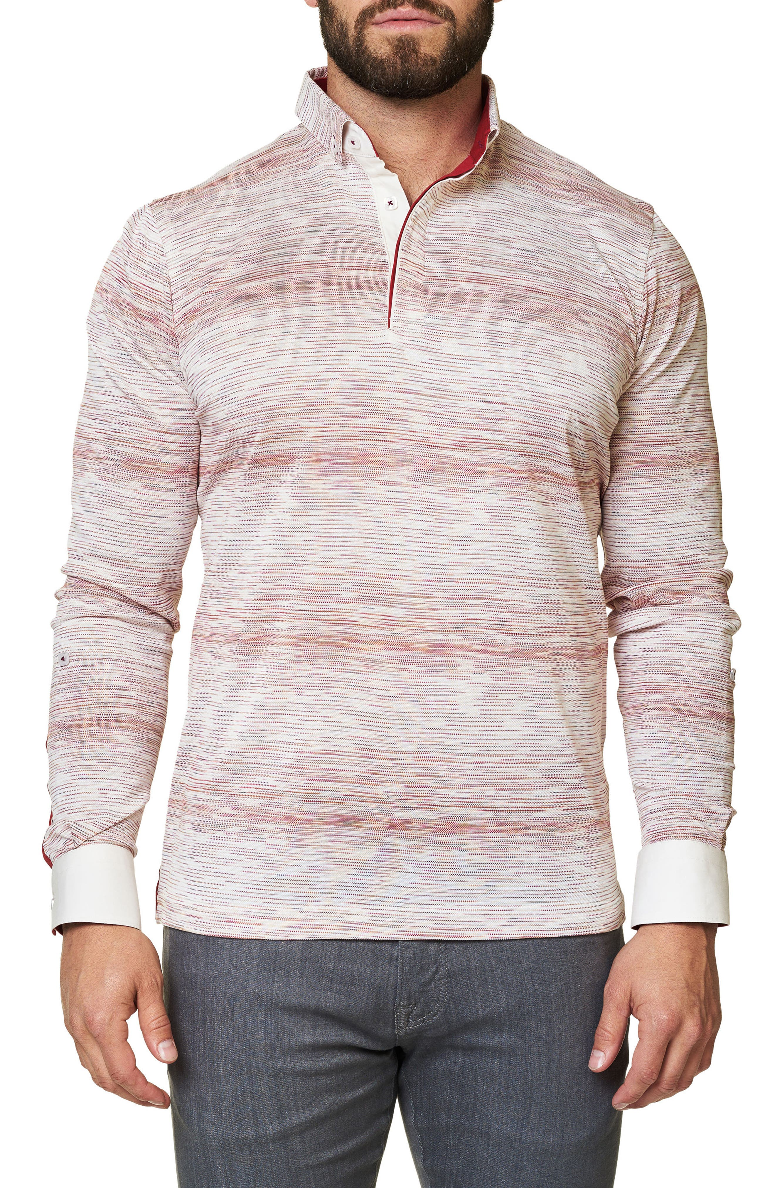 Stripe Long Sleeve Polo,                         Main,                         color, Solid White
