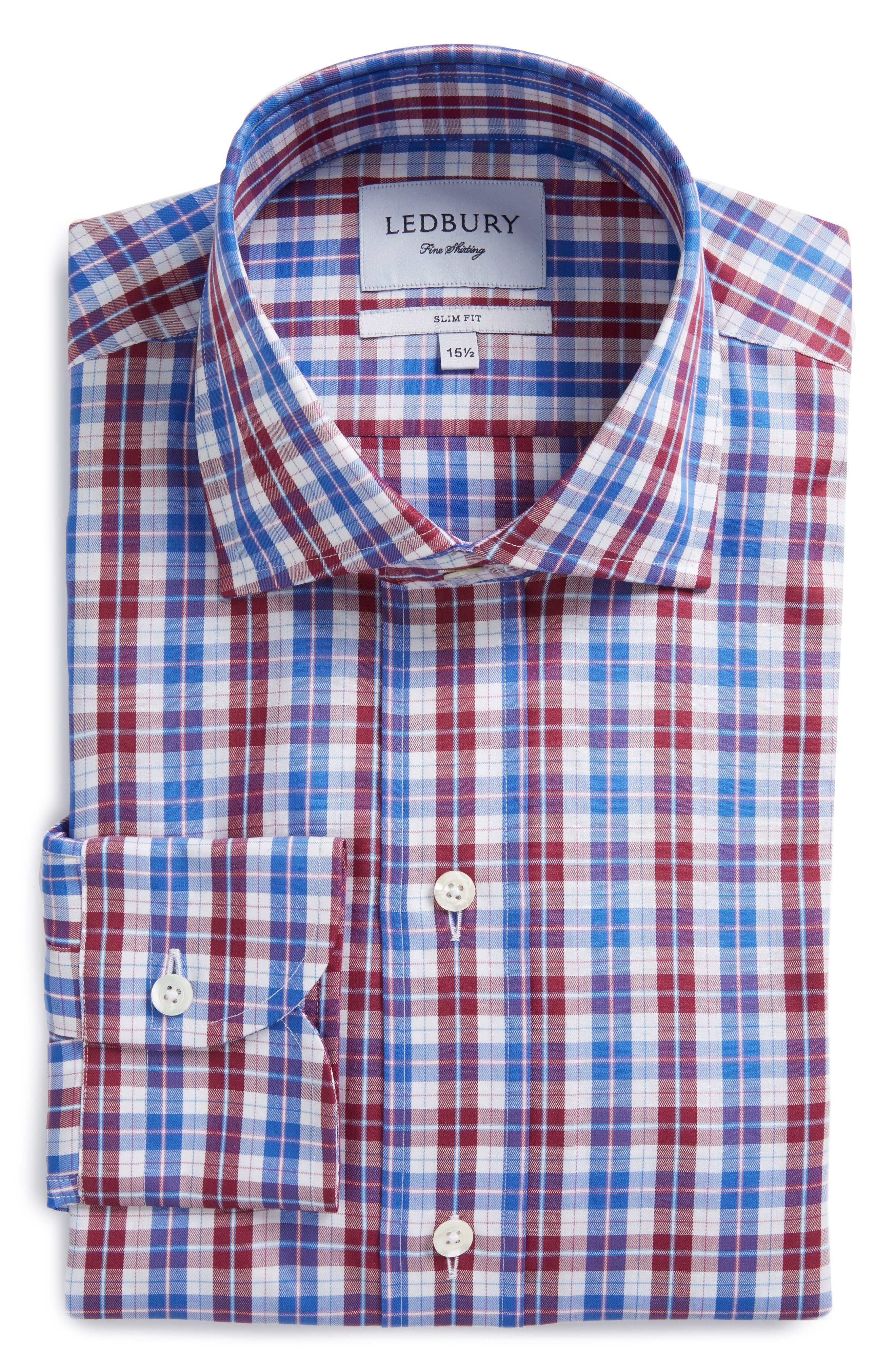 Slim Fit Check Dress Shirt,                         Main,                         color, Wine