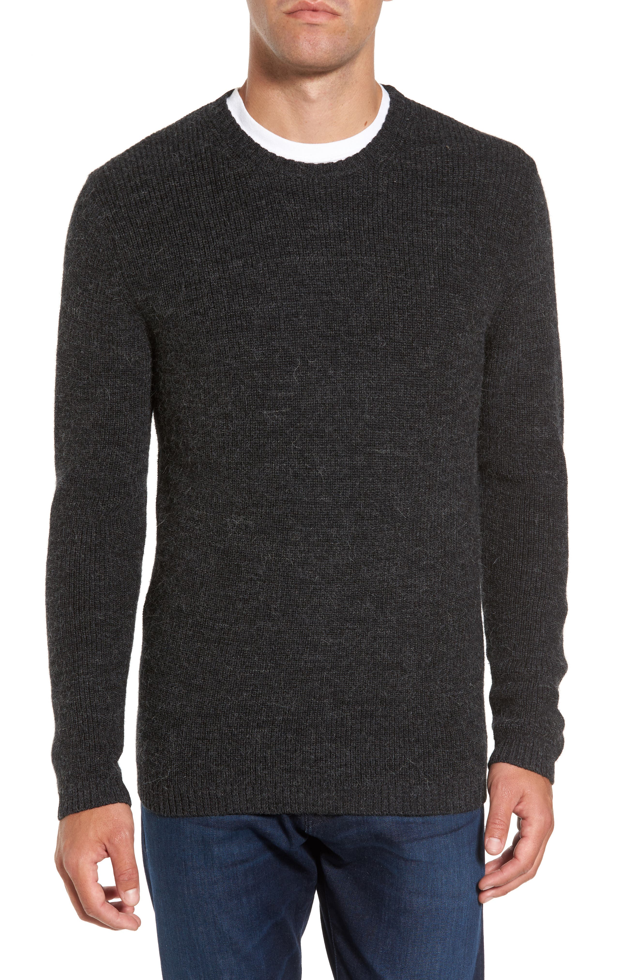 Whalers Bay Merino Wool Blend Sweater,                             Main thumbnail 1, color,                             Onyx