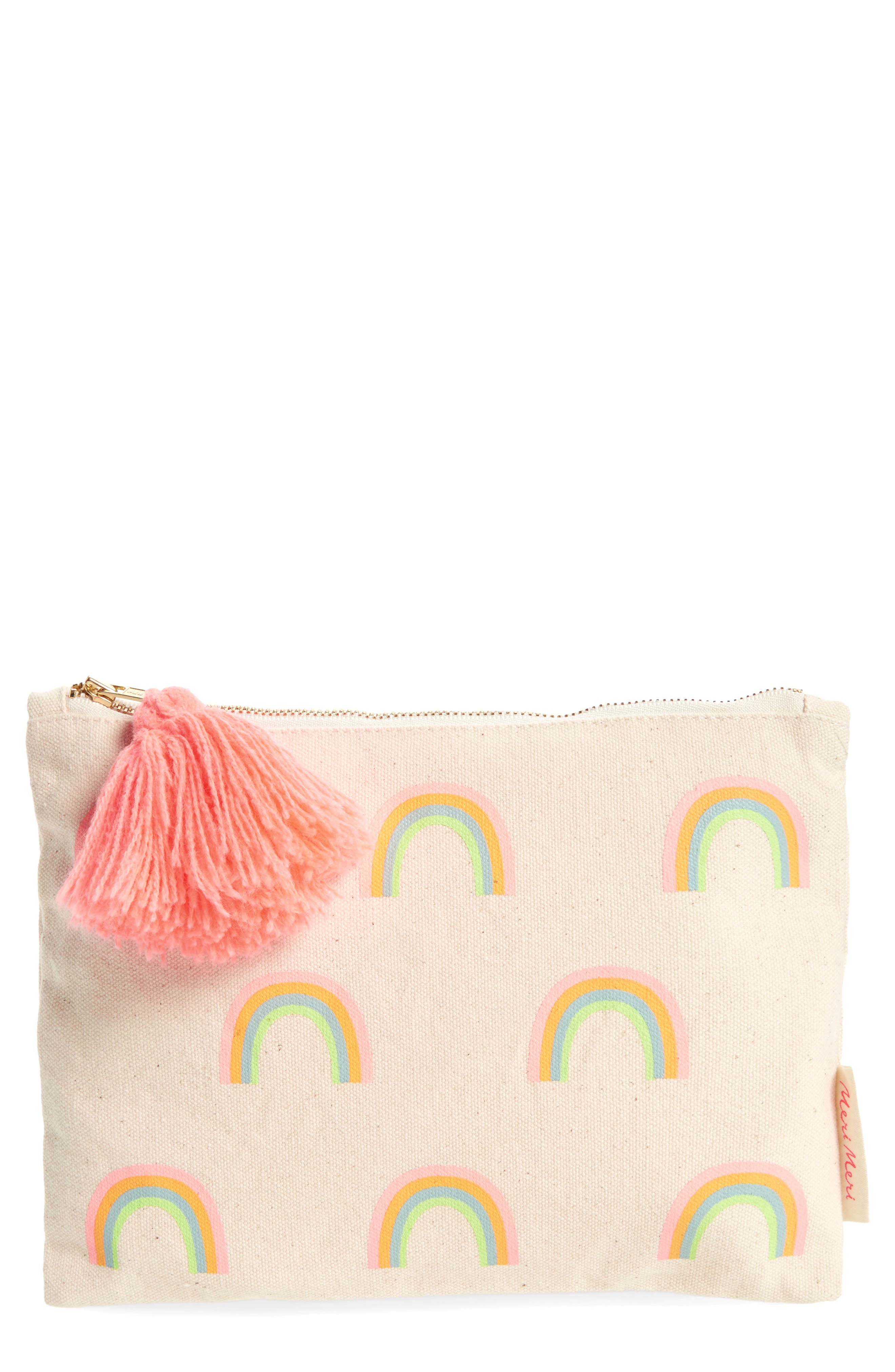 Large Rainbow Zip Pouch,                         Main,                         color, Cream Multi