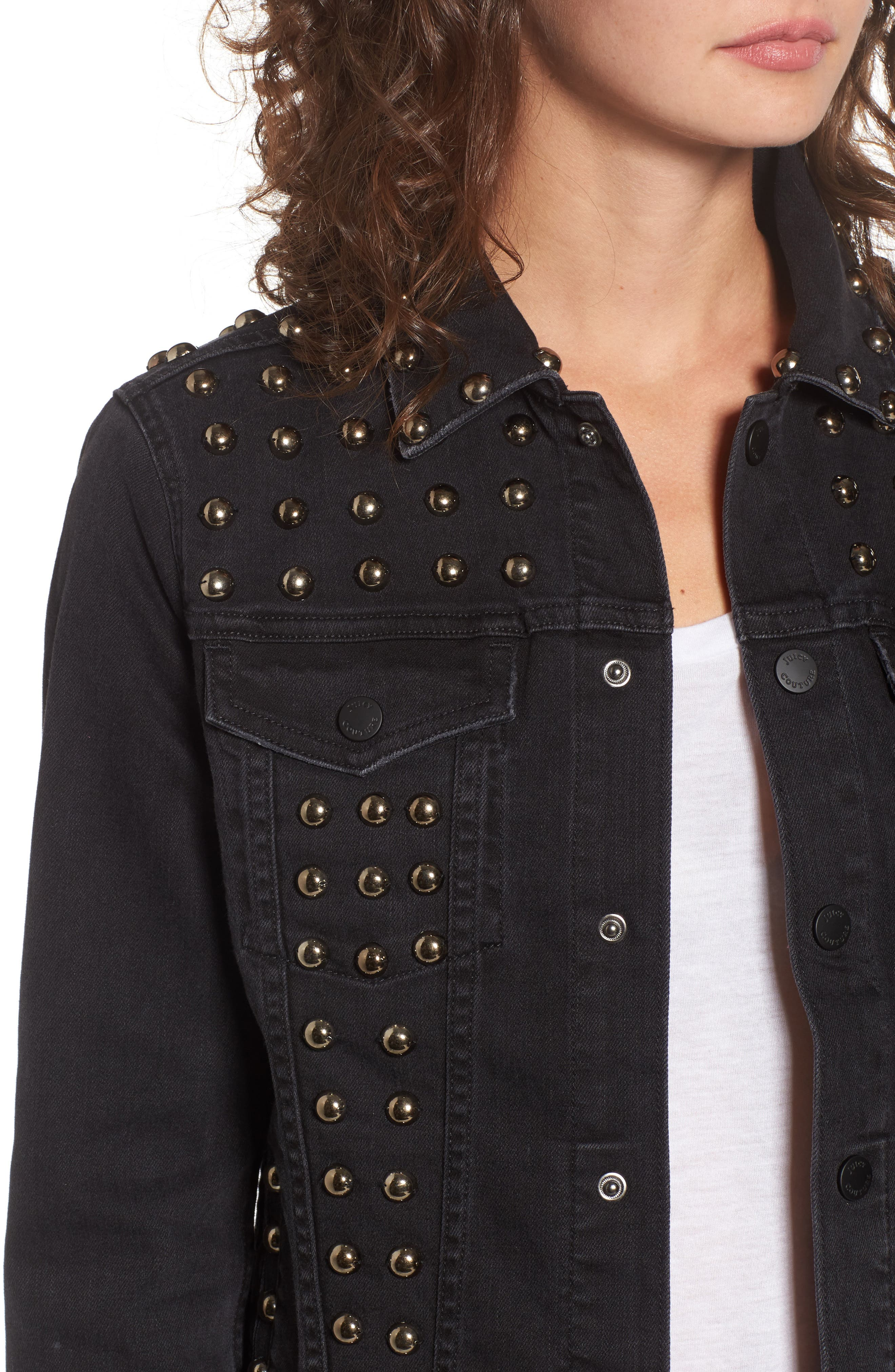 Studded Denim Jacket,                             Alternate thumbnail 4, color,                             Ebony Wash