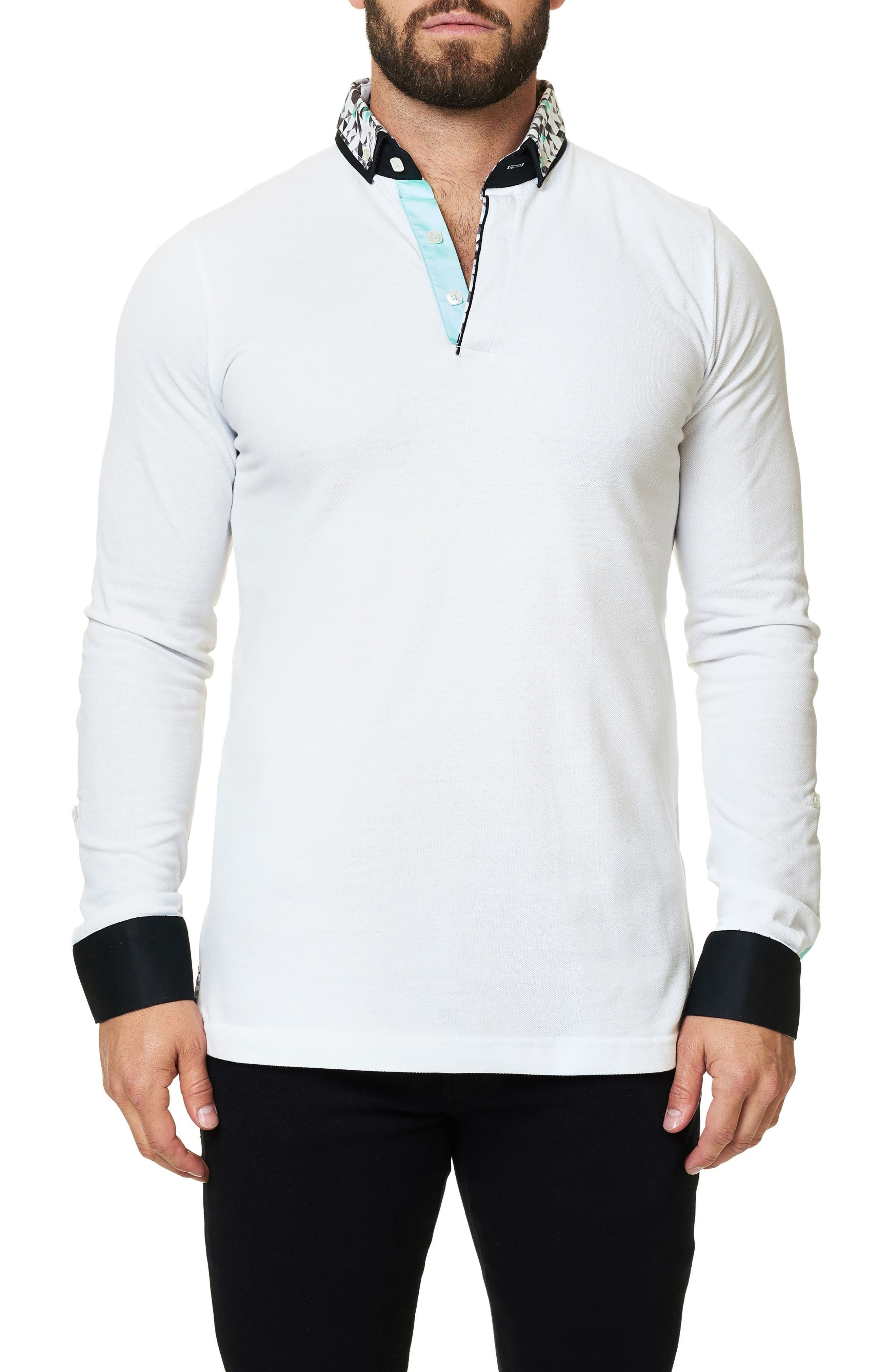 Long Sleeve Polo,                         Main,                         color, Solid White