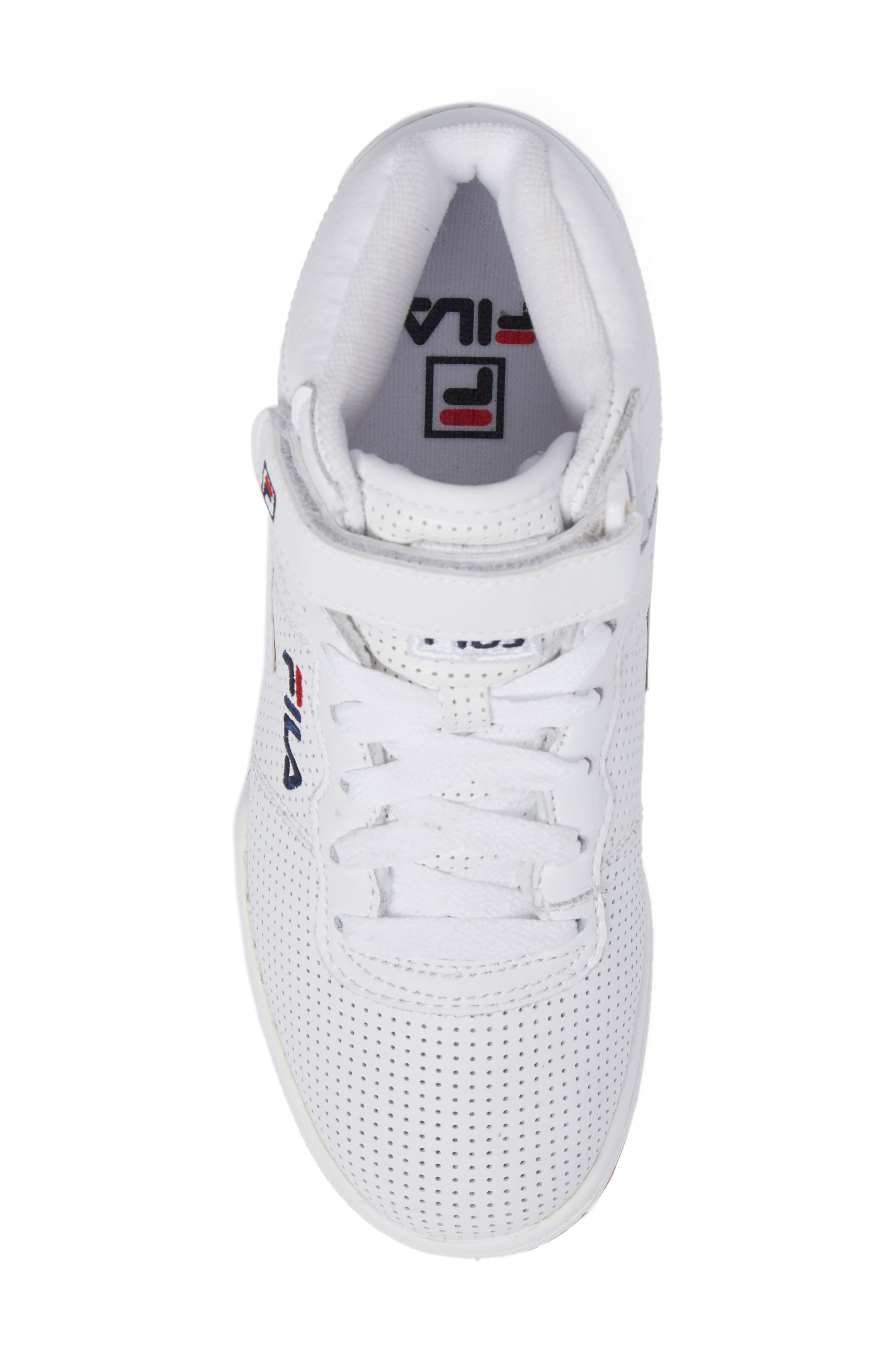 F-13 Perforated High Top Sneaker,                             Alternate thumbnail 5, color,                             White/Navy/Red