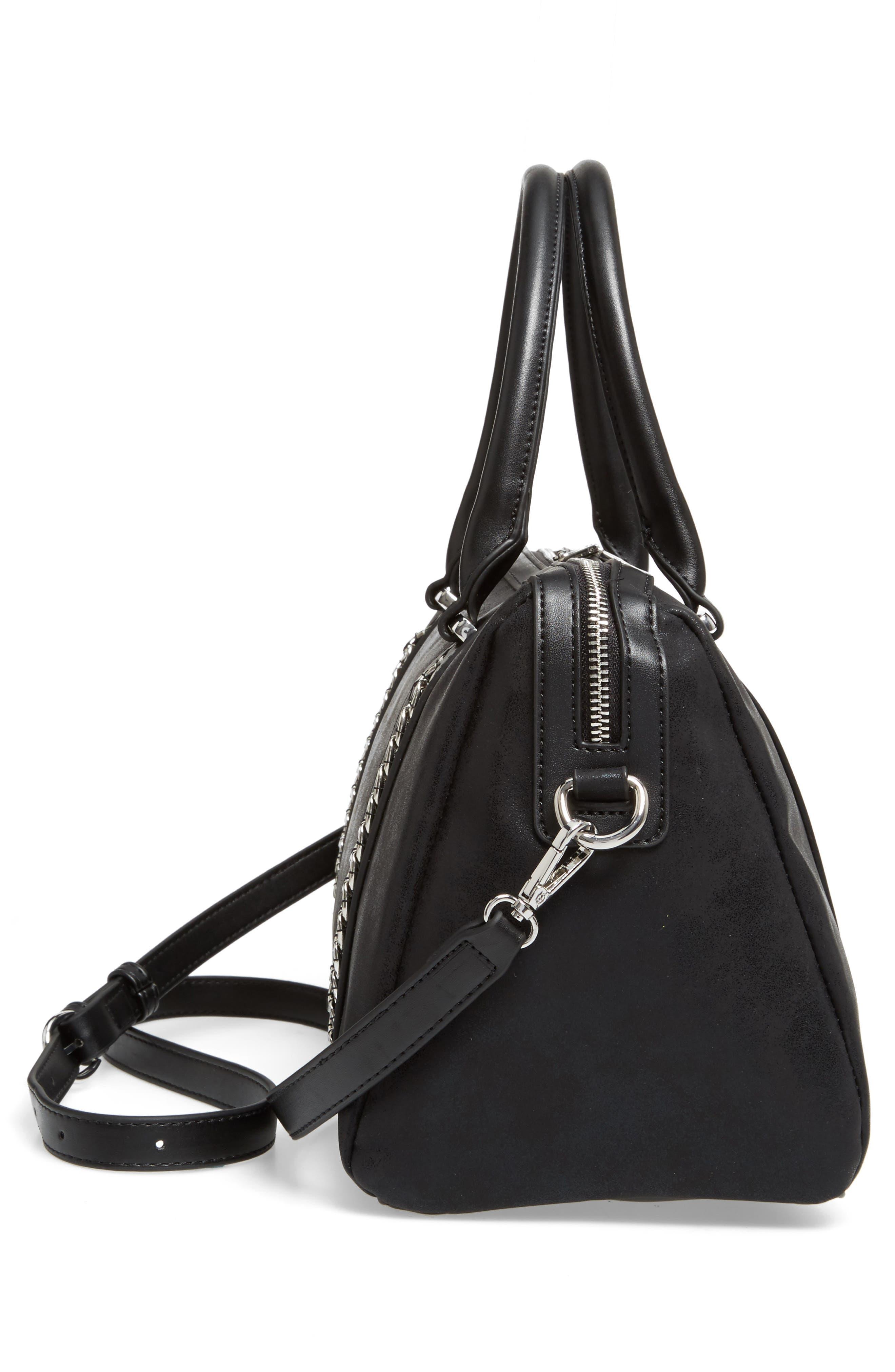 Karlie Faux Leather Satchel,                             Alternate thumbnail 5, color,                             Black