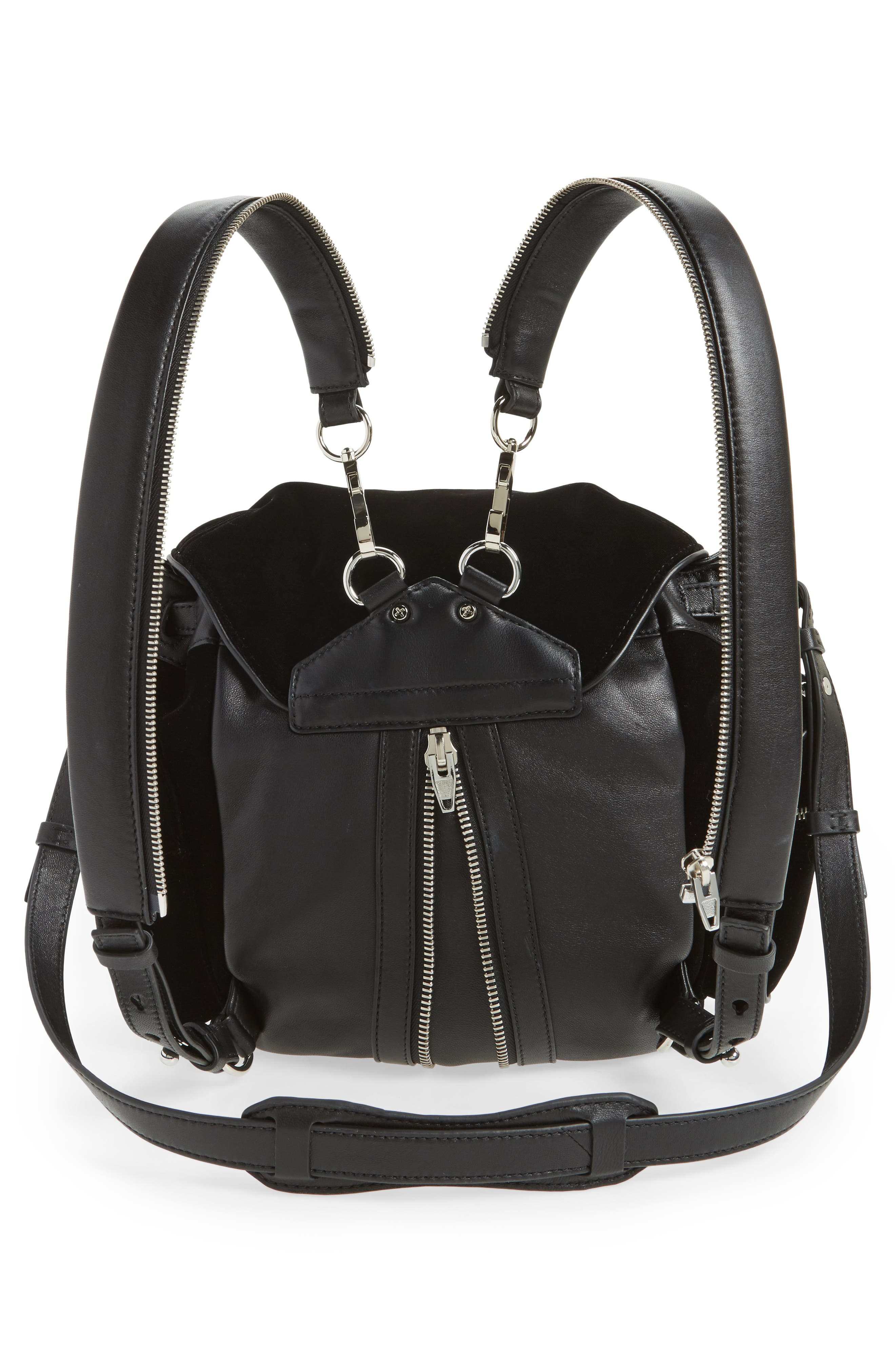 Mini Marti Velvet & Lambskin Leather Backpack,                             Alternate thumbnail 3, color,                             Black