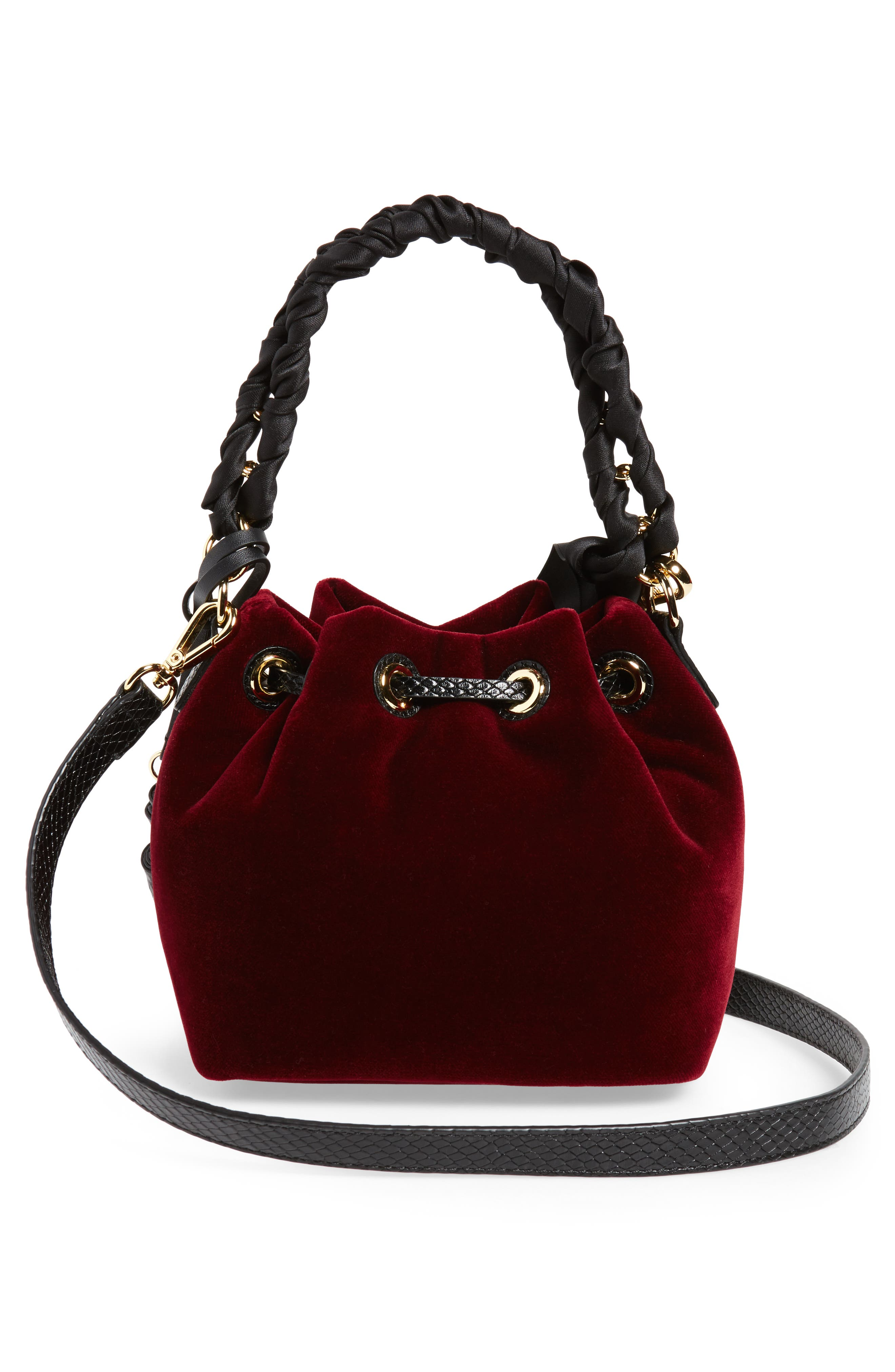 Small Velvet Bucket Bag,                             Alternate thumbnail 2, color,                             Burgundy