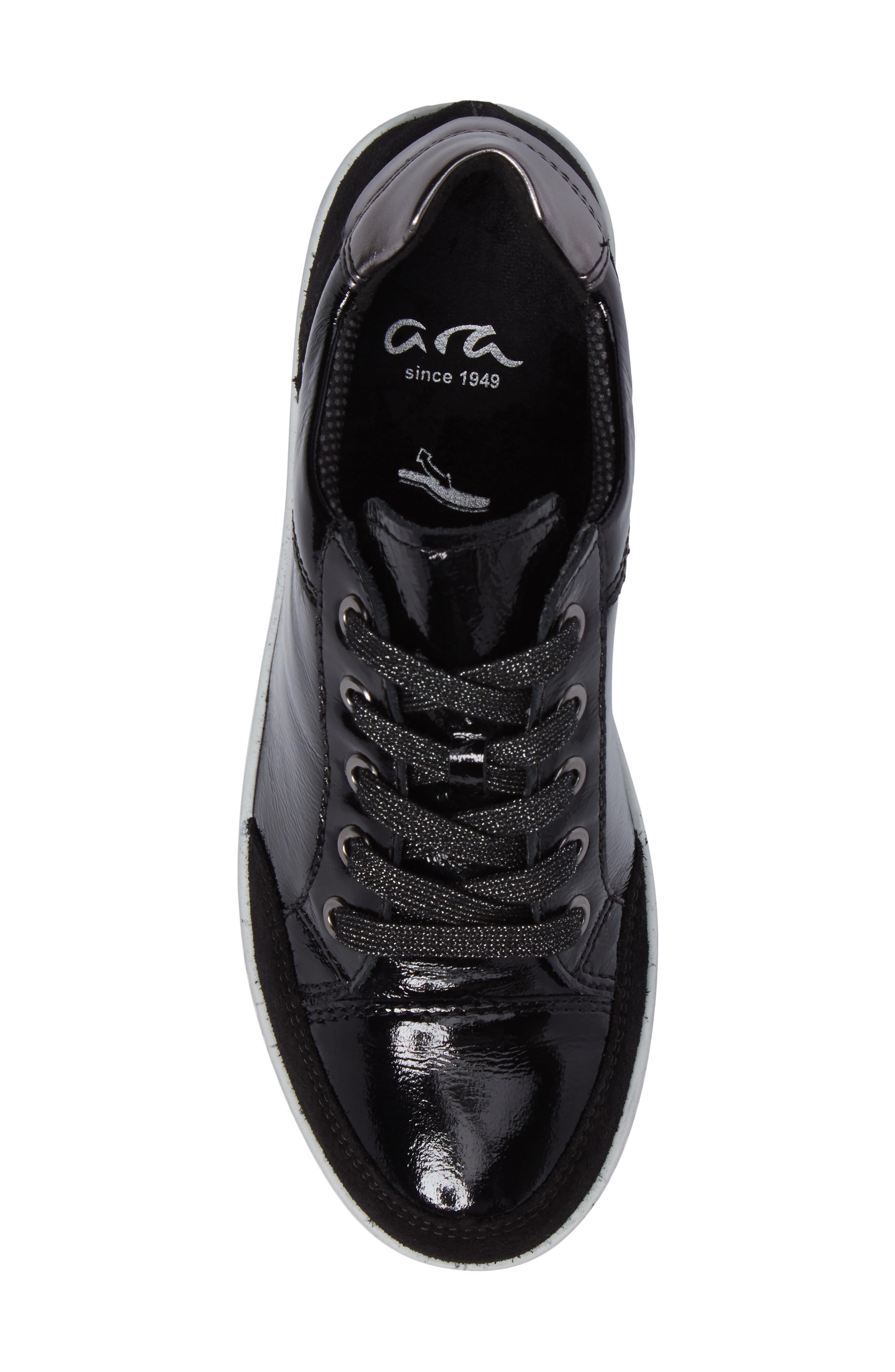 Nicole Sneaker,                             Alternate thumbnail 5, color,                             Black Leather