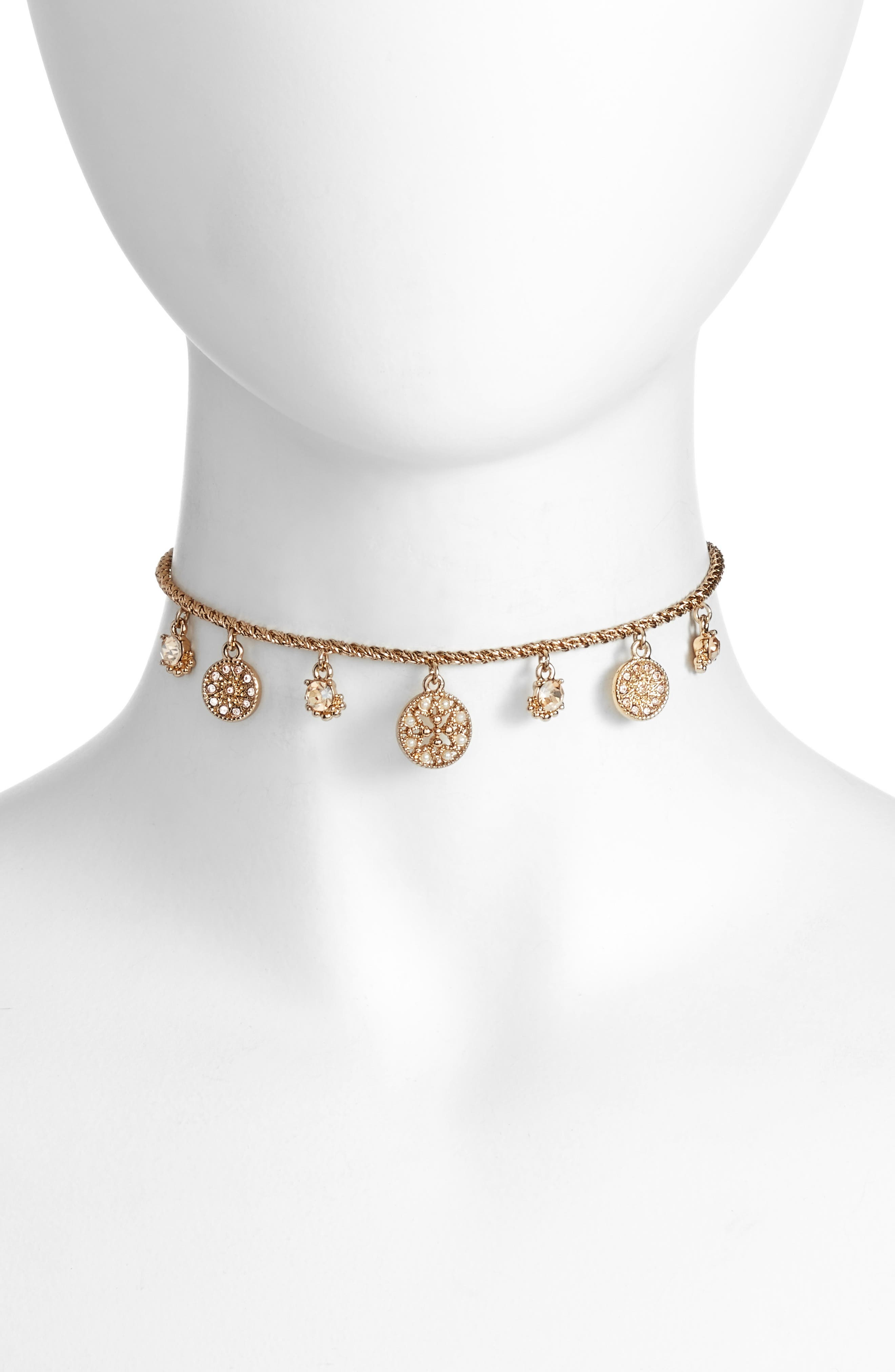 Crystal Choker,                         Main,                         color, Gold/ Gold Multi
